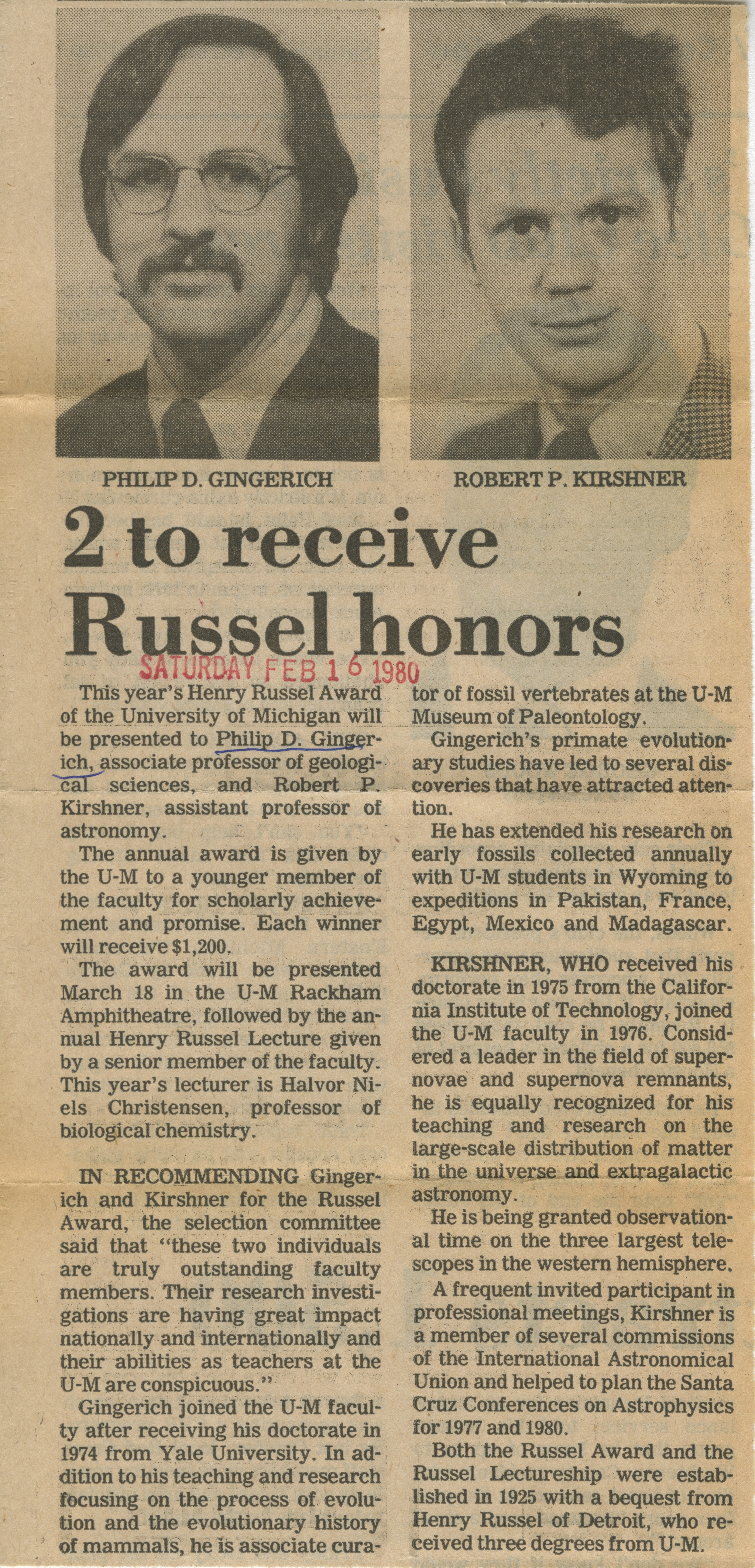 2 TO Receive Russel Honors image