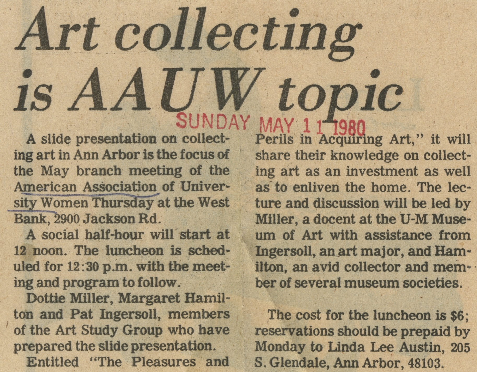 Art Collecting Is AAUW Topic image