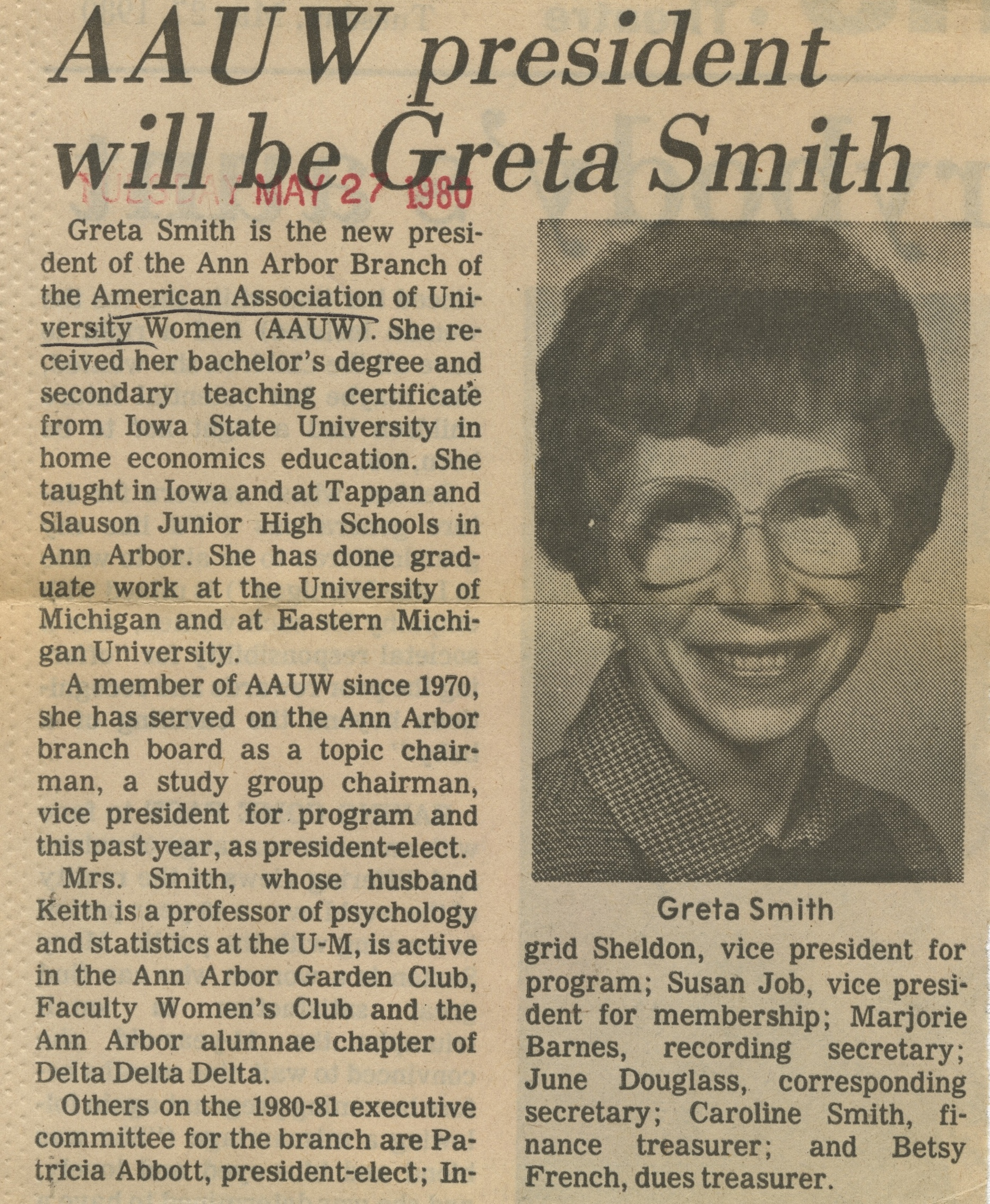 AAUW President Will Be Greta Smith image