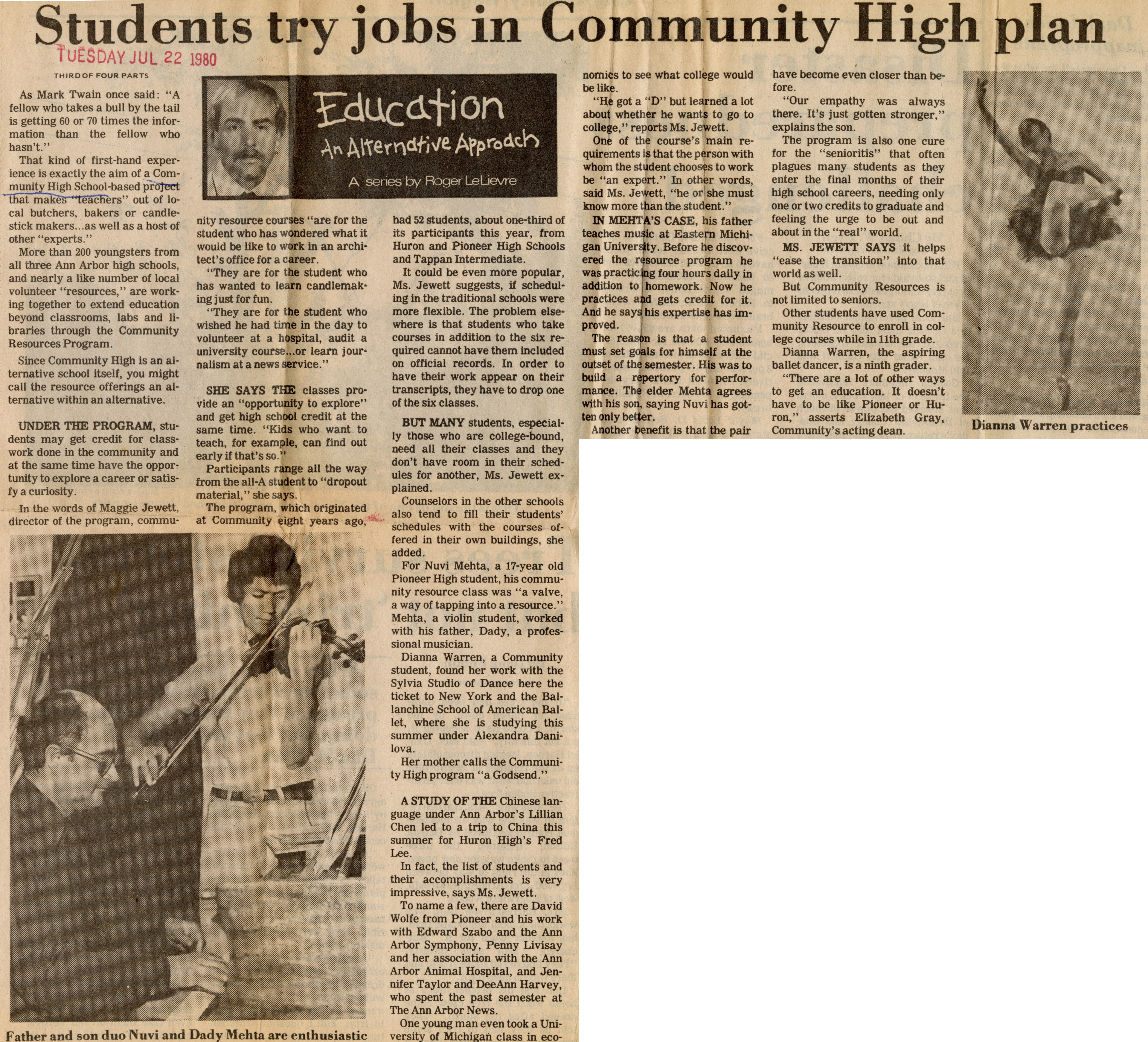 Students Try Jobs In Community High Plan image