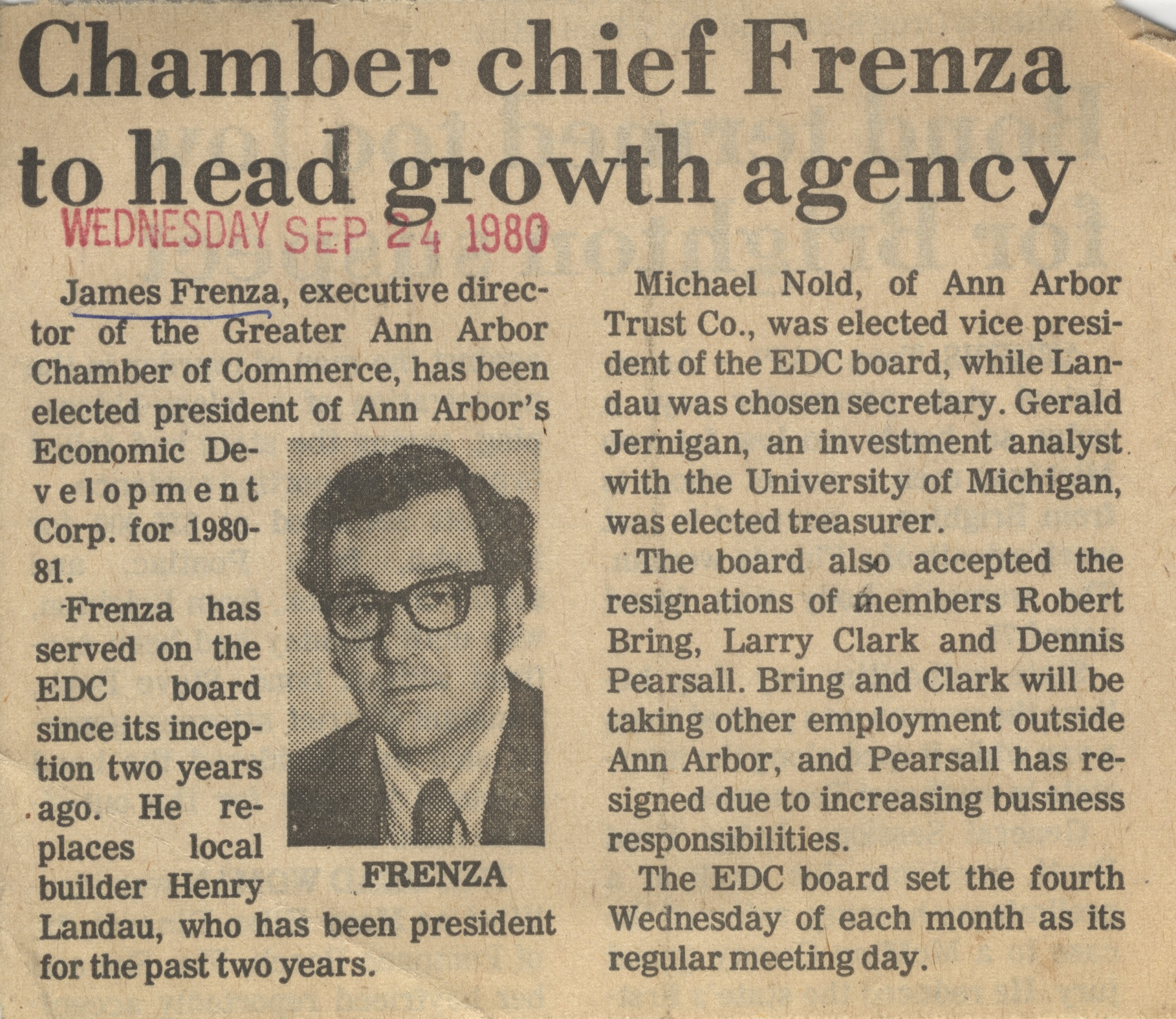 Chamber chief Frenza to head growth agency image