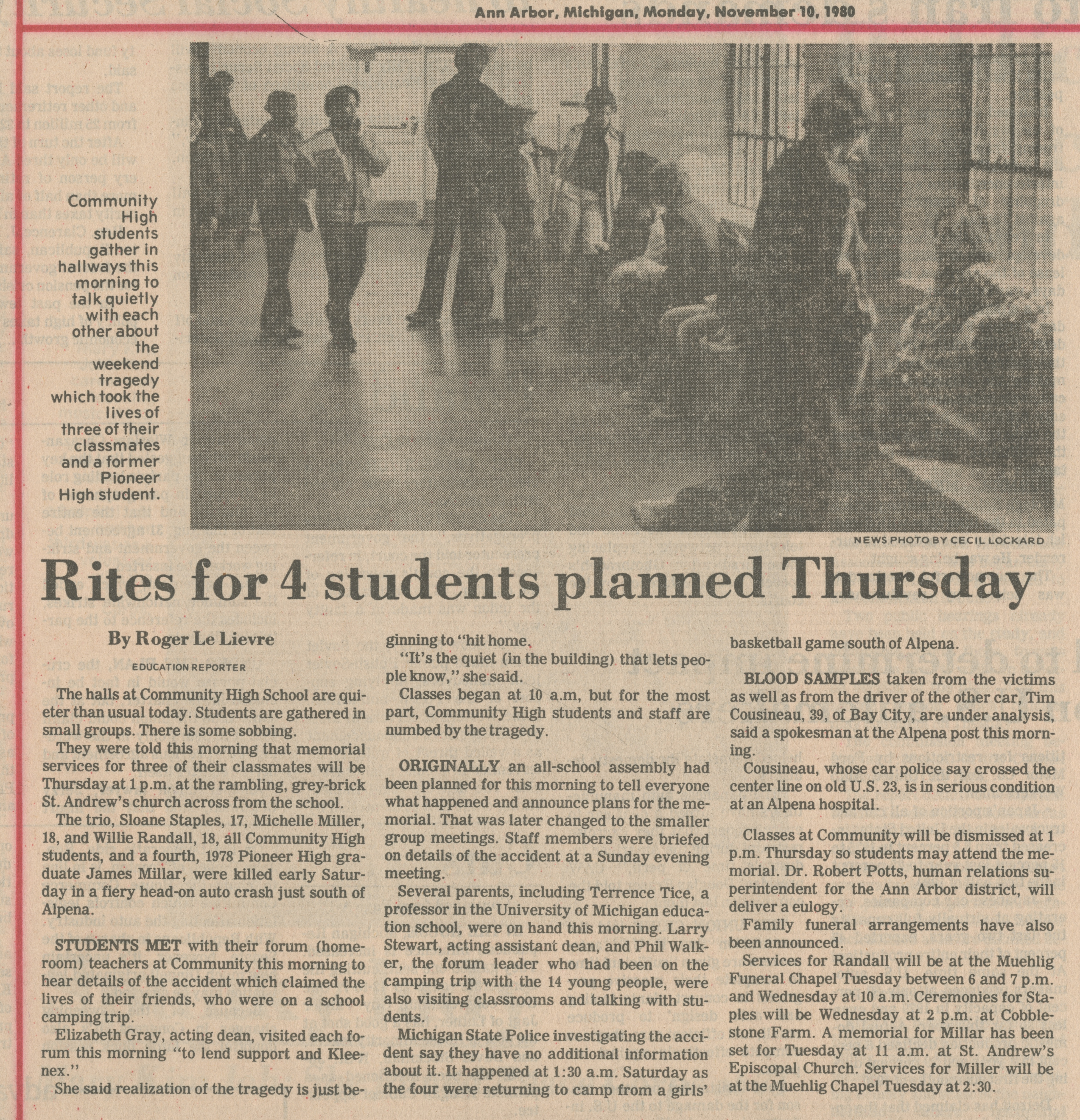 Rites for 4 students planned Thursday image