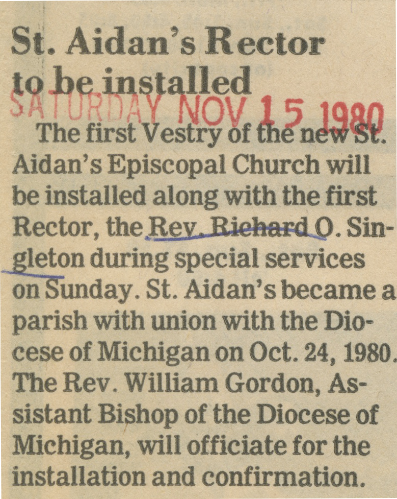 St. Aidn's Rector To Be Installed image