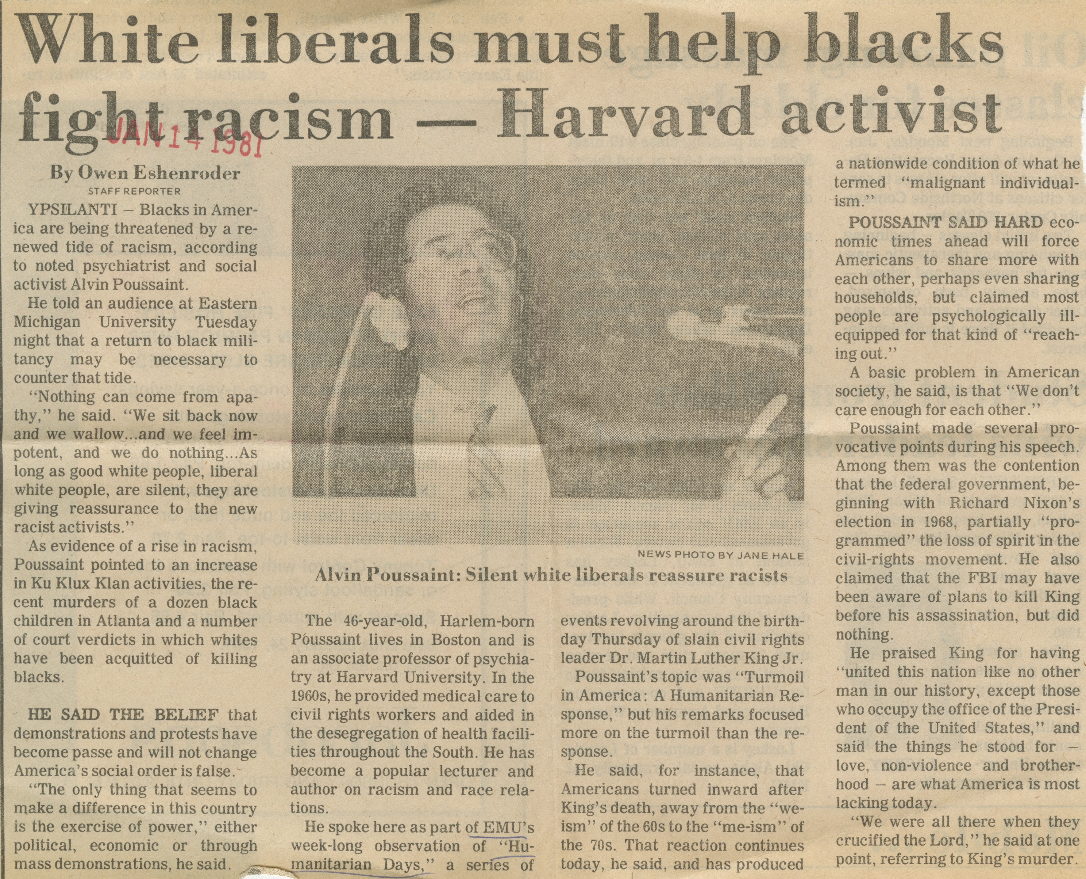 White liberals must help blacks fight racism - Harvard activist image