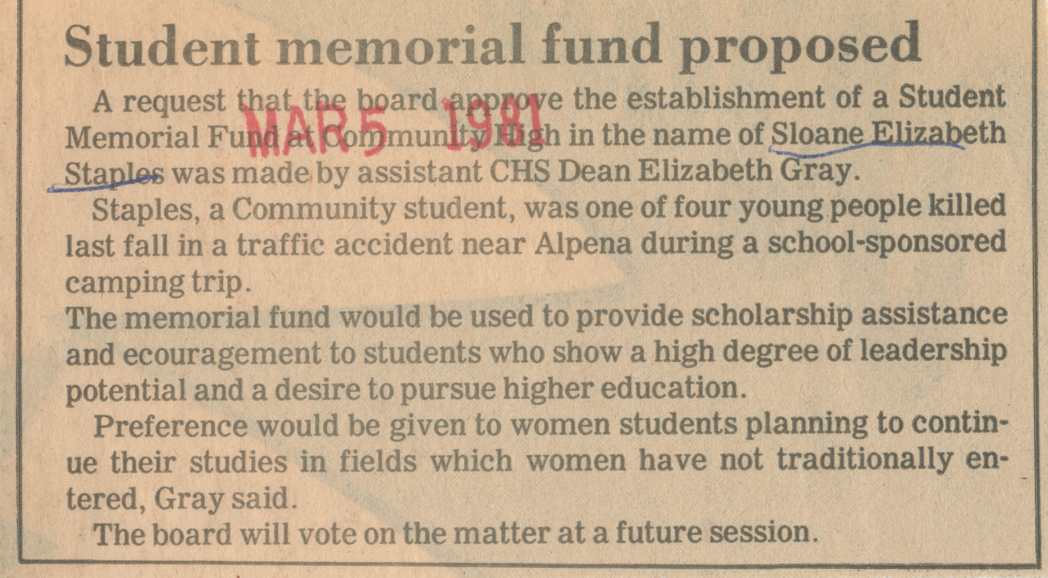 Student memorial fund proposed image