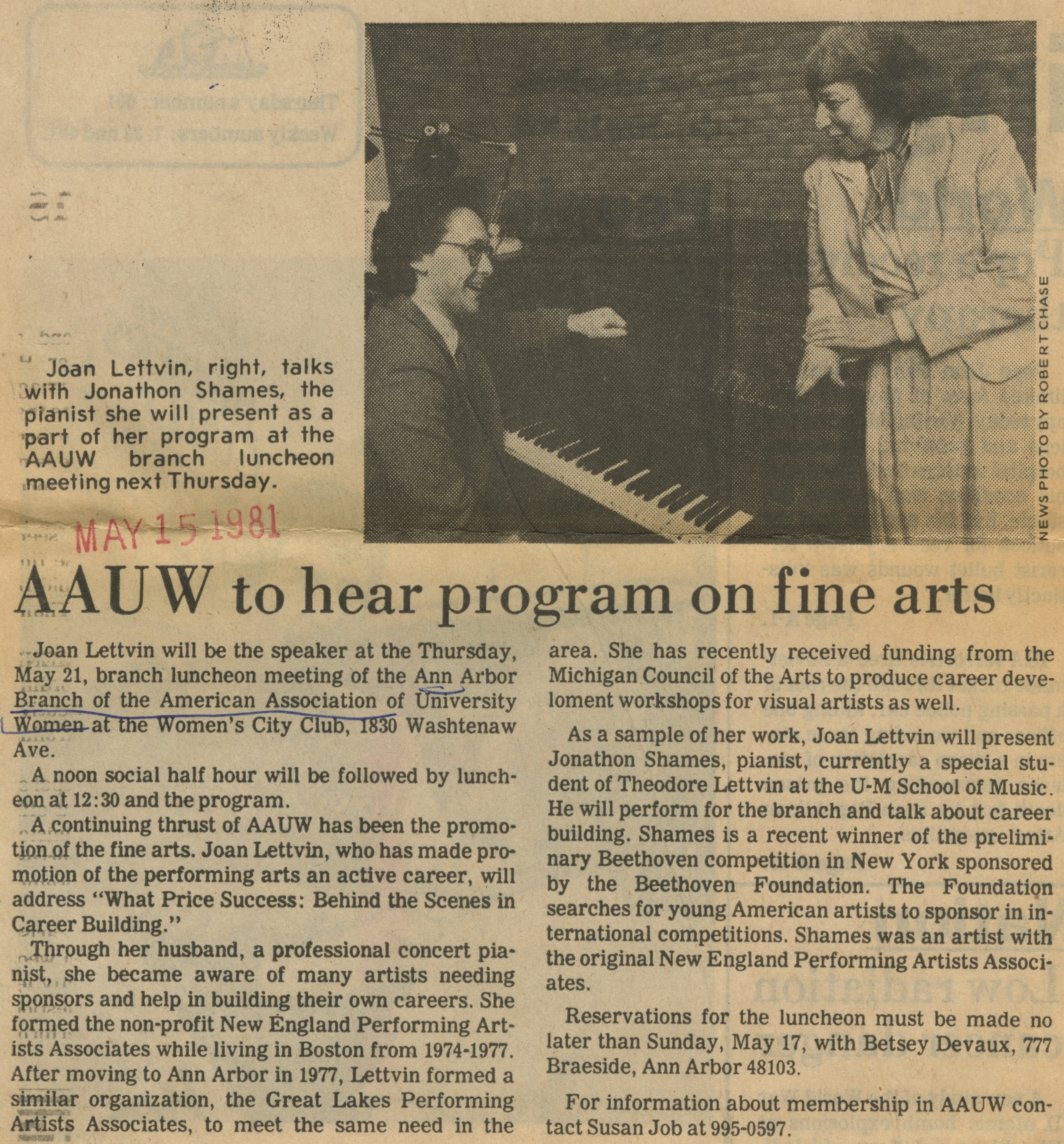 AAUW to Hear Program on Fine Arts image