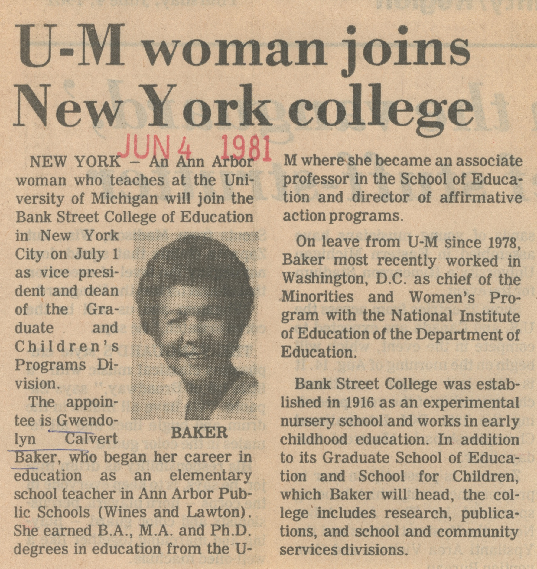 U-M Woman Joins New York College image