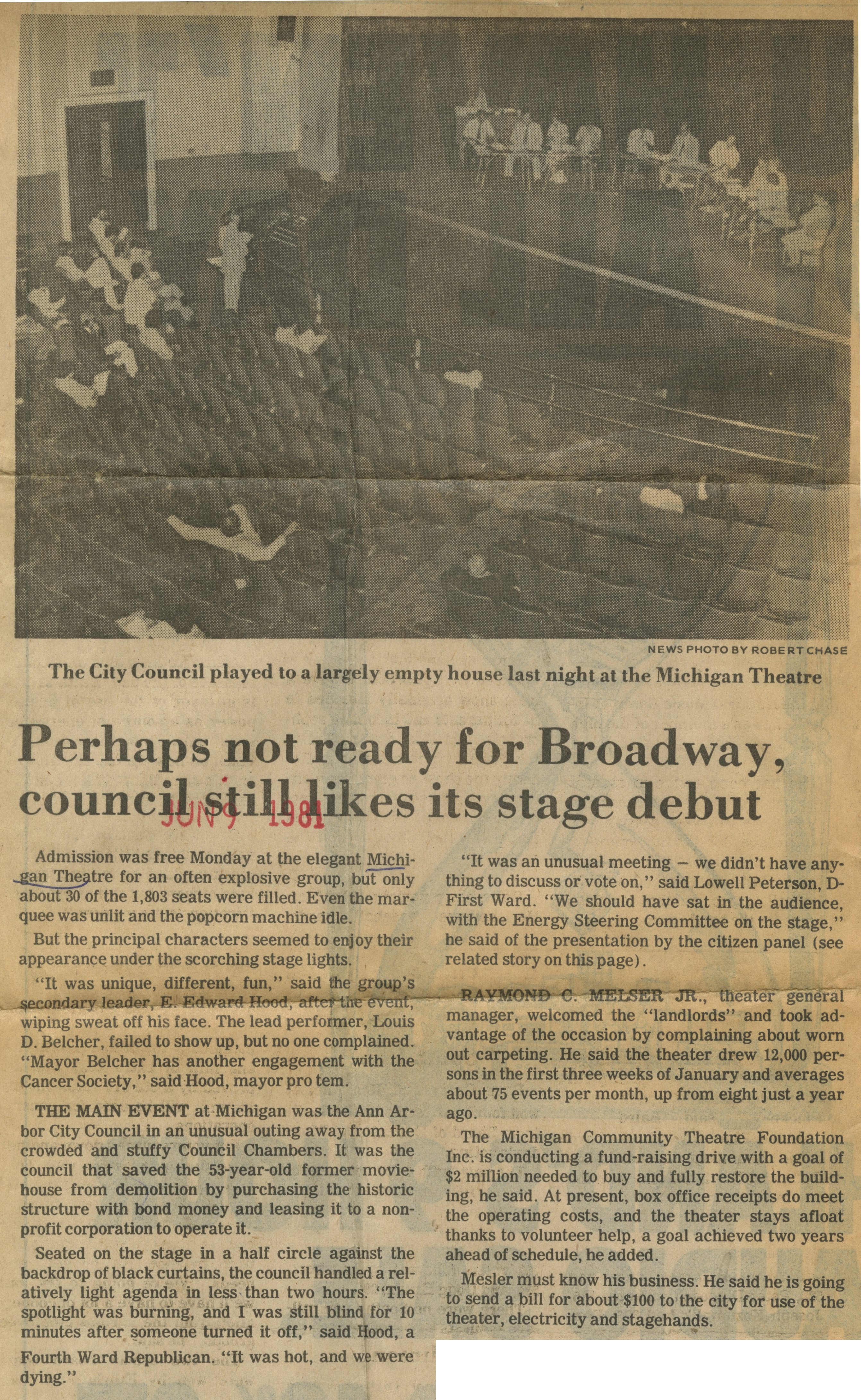 Perhaps Not Ready For Broadway, Council Still Likes Its Stage Debut image