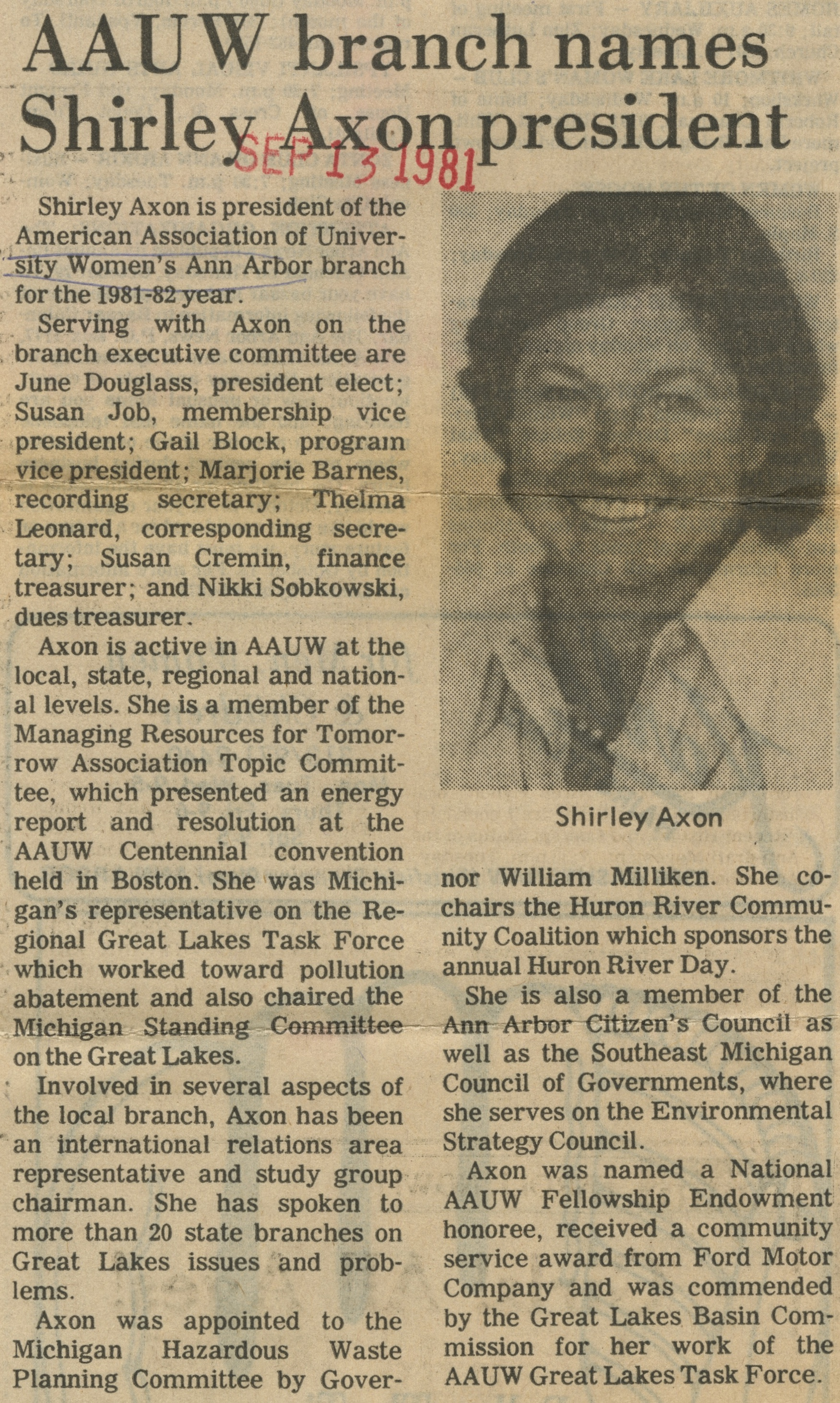 AAUW Branch Names Shirley Axon President image