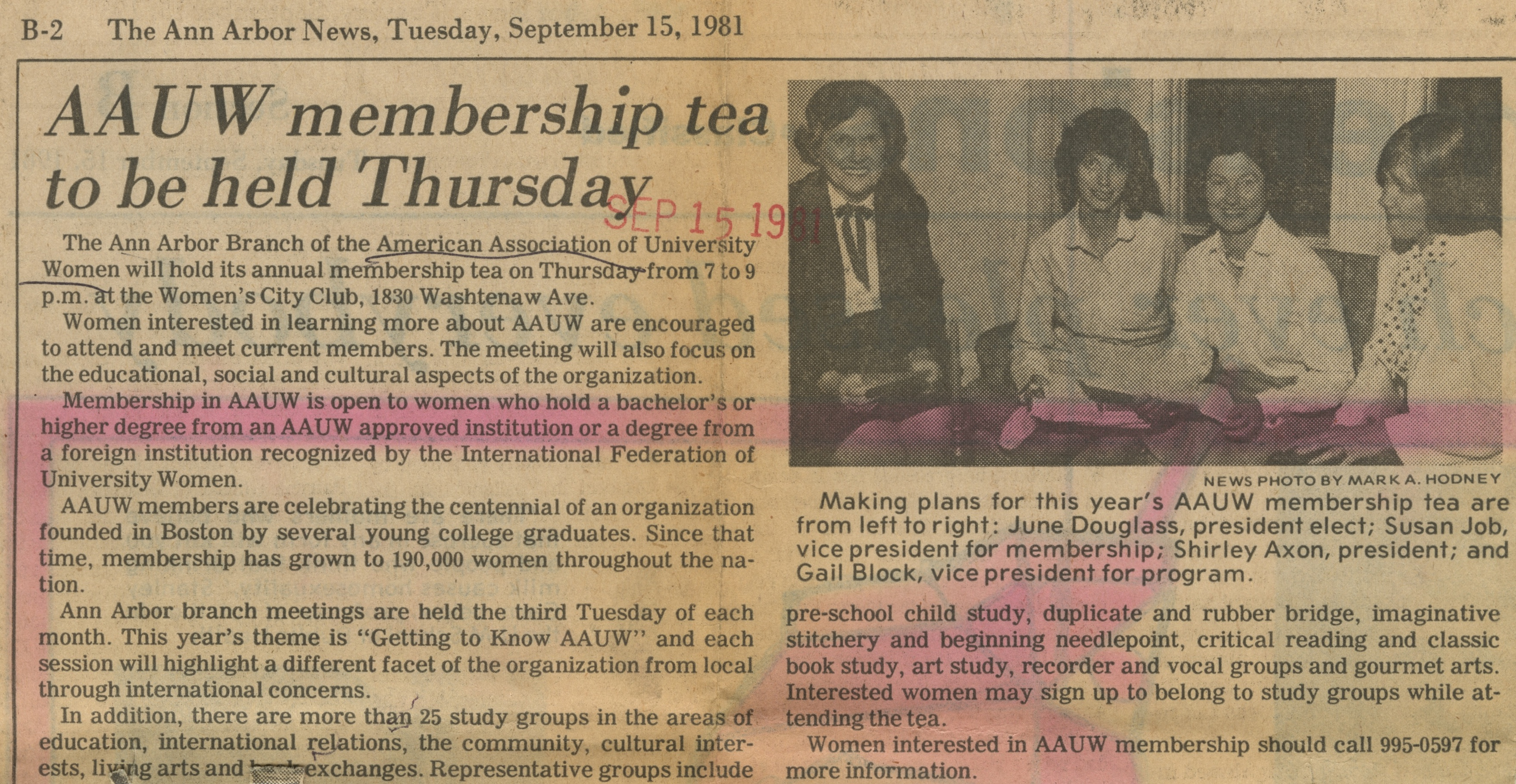 AAUW Membership Tea to be Held Thursday image