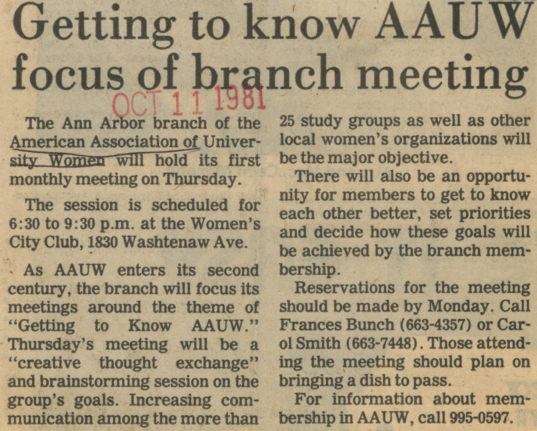 Getting to Know AAUW Focus of Branch Meeting image
