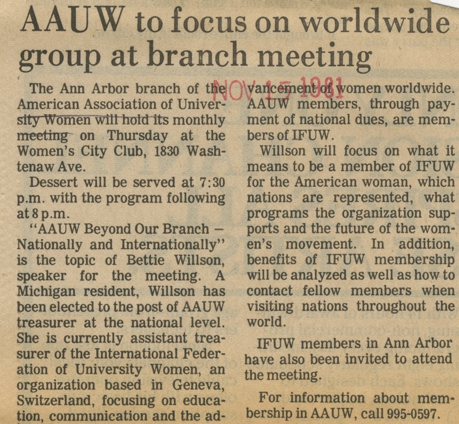 AAUW to Focus on Worldwide Group at Branch Meeting image