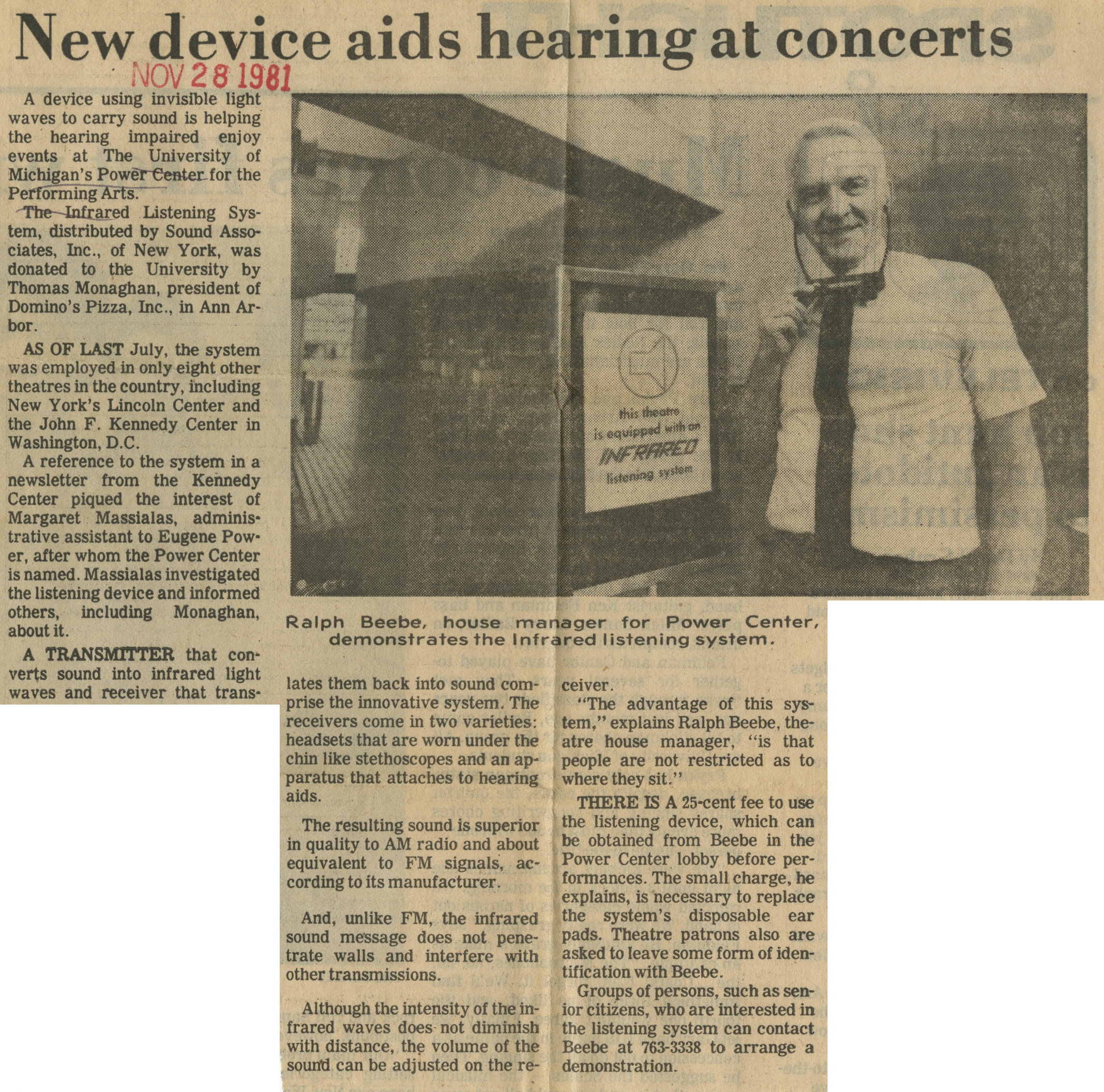 New device aids hearing at concerts image