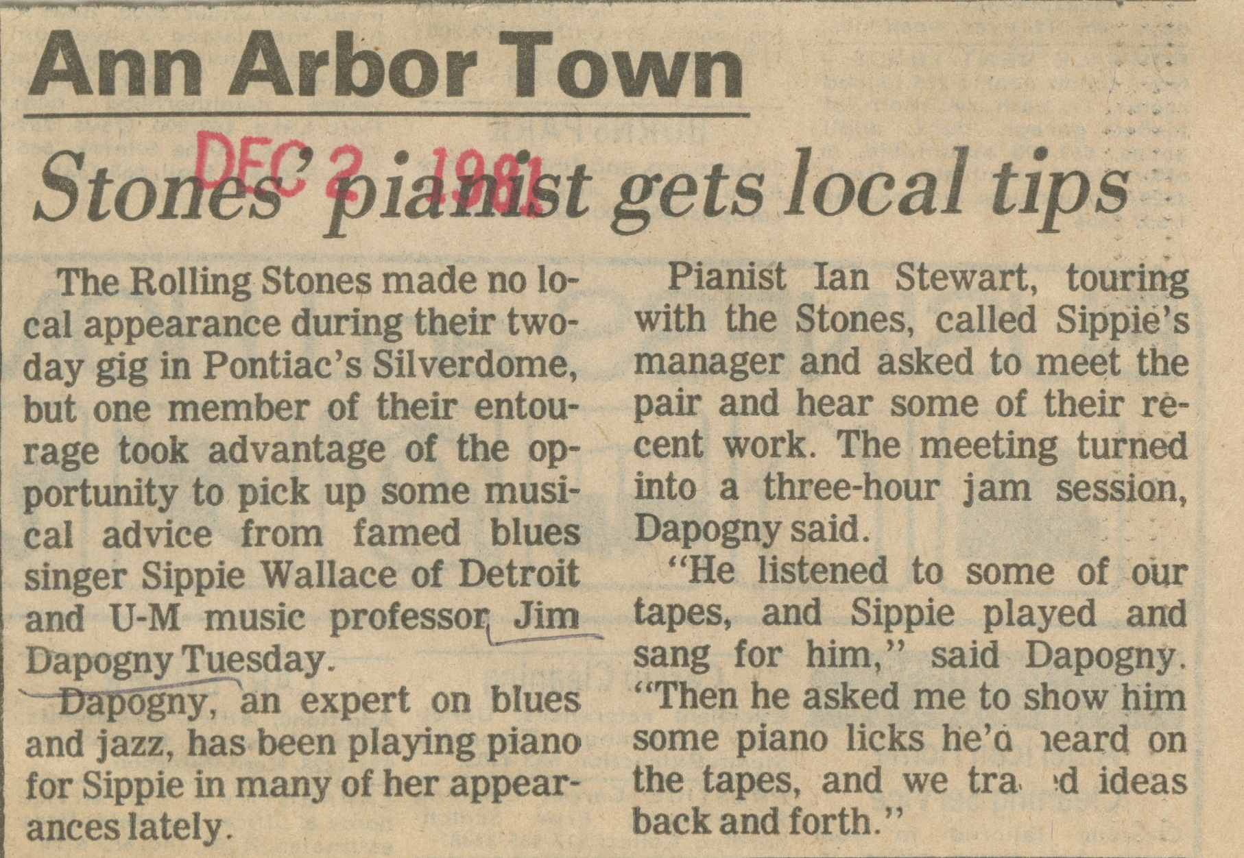 Stones' Pianist Gets Local Tips image