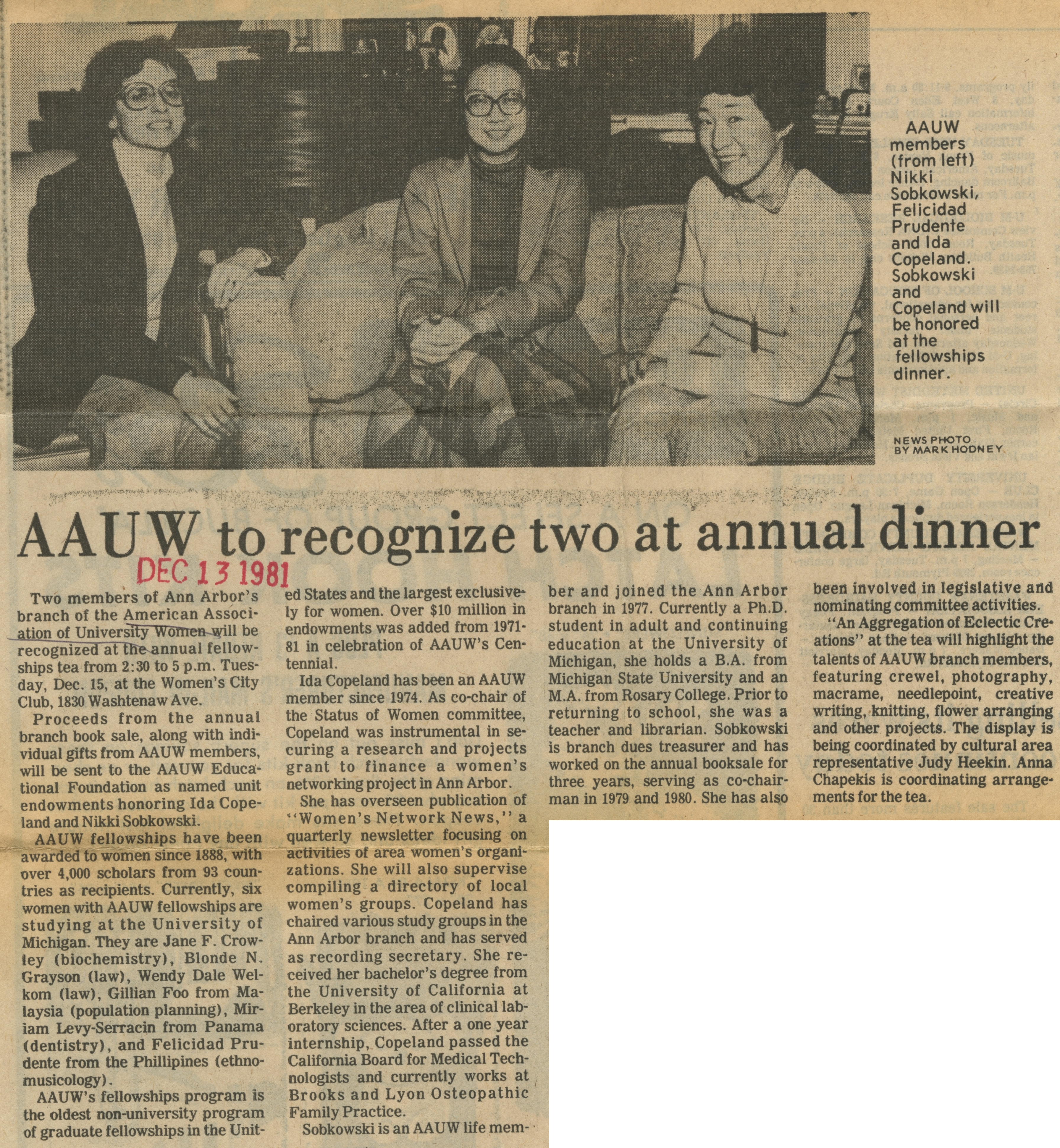 AAUW to recognize Two at Annual Dinner image