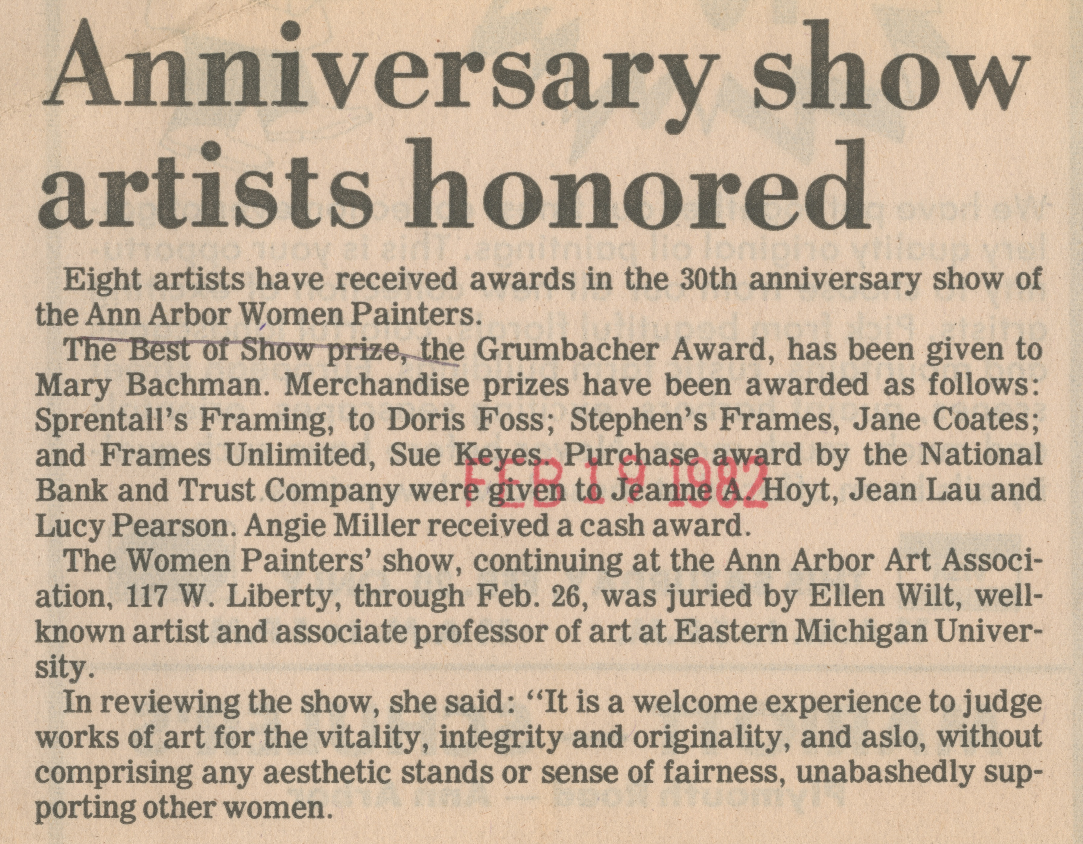 Anniversary show artists honored image