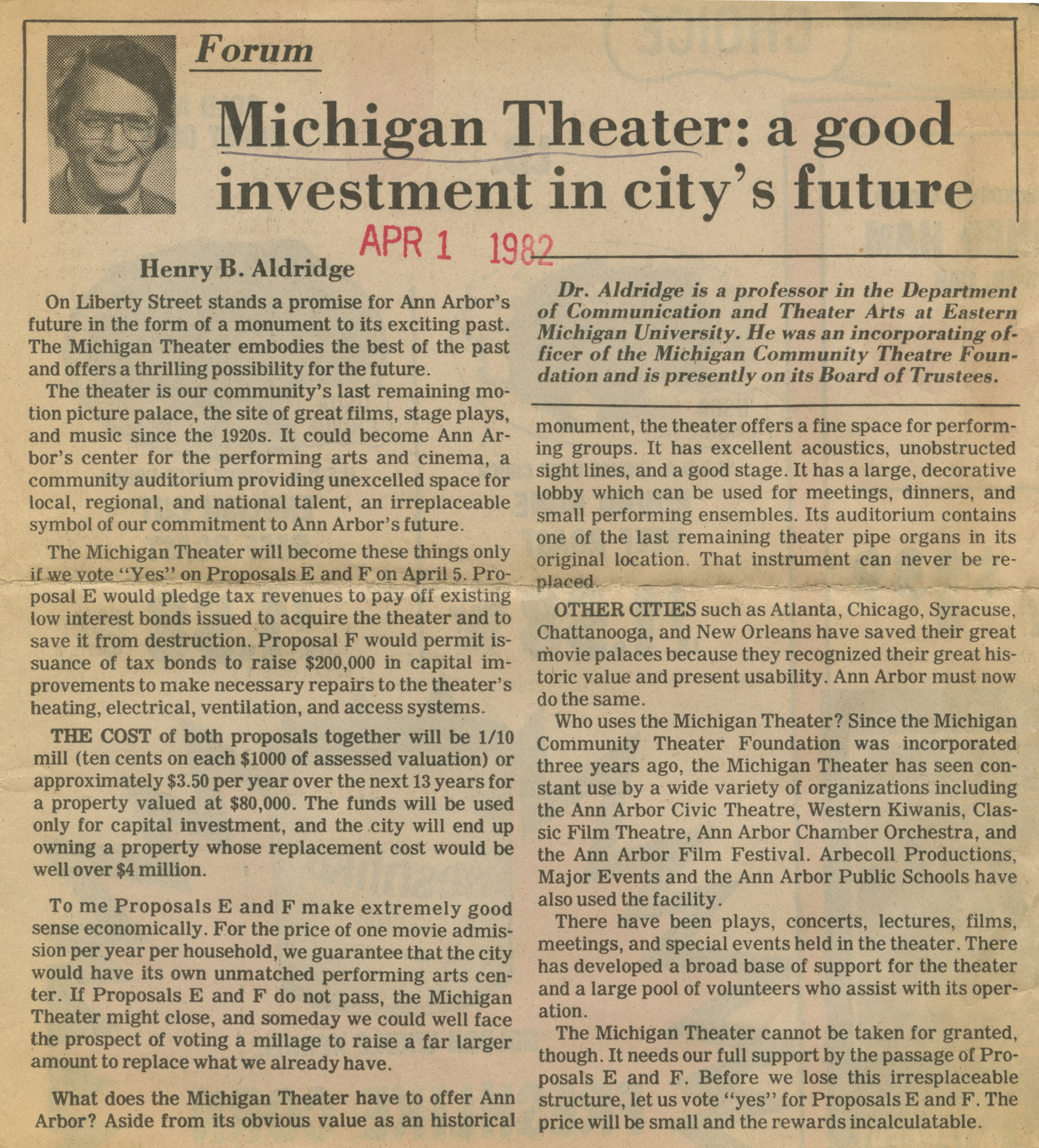 Michigan Theater: A Good Investment In City's Future image