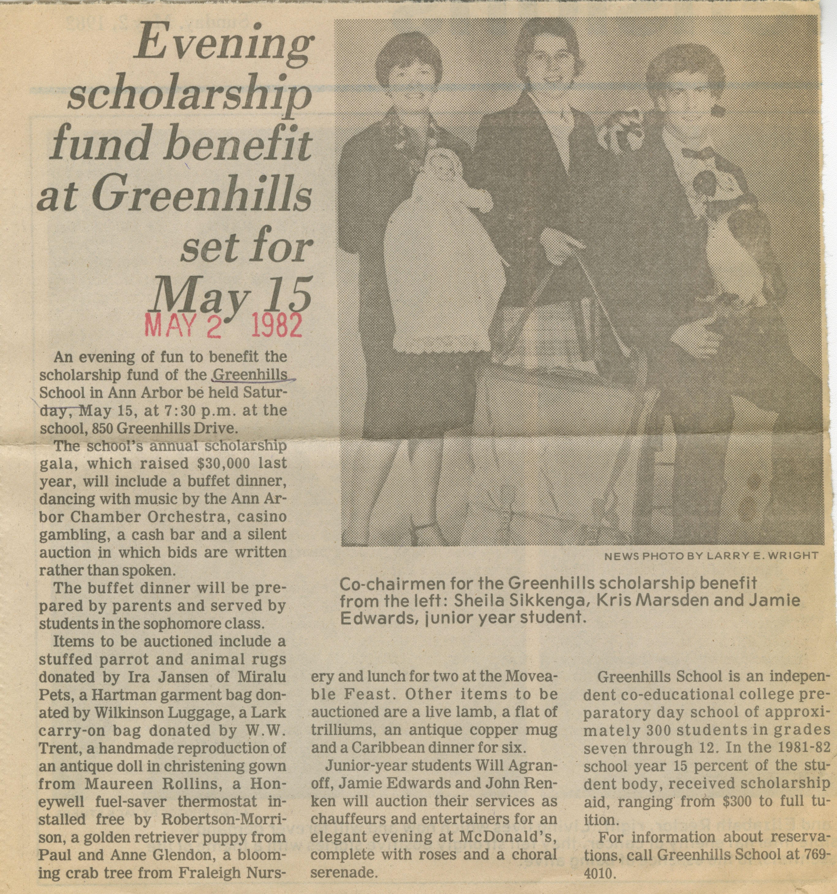 Evening Scholarship Fund Benefit At Greenhills Set For May 15 image