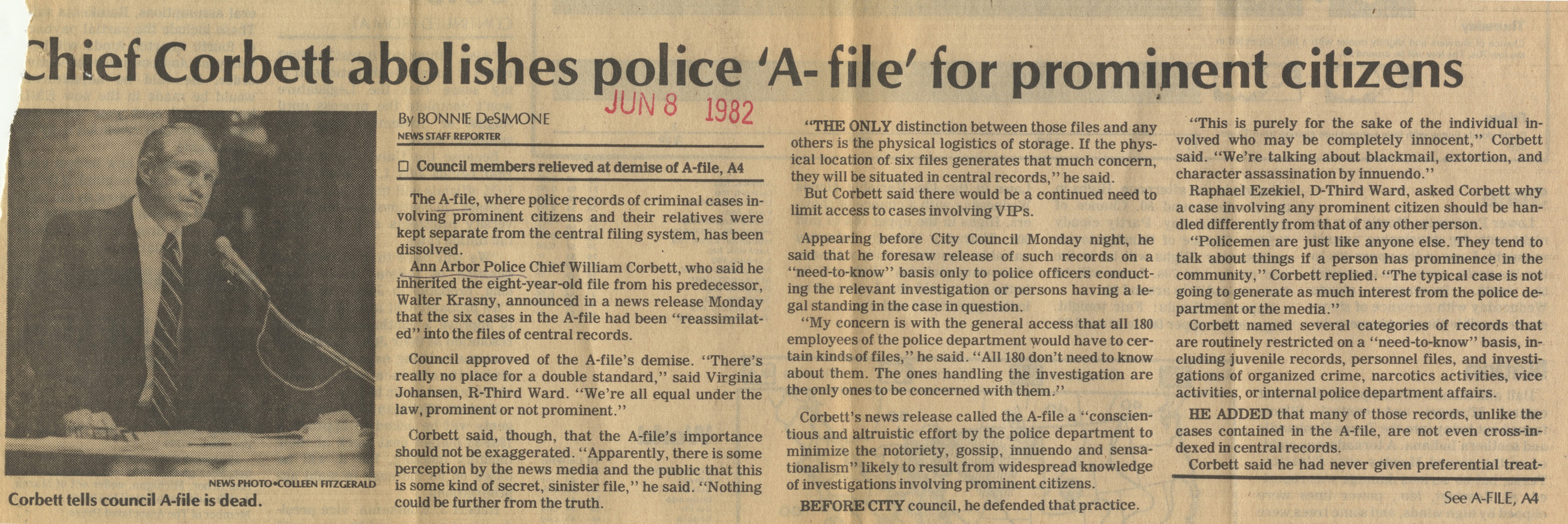 Chief Corbett Abolishes Police 'A-File' For Prominent Citizens image