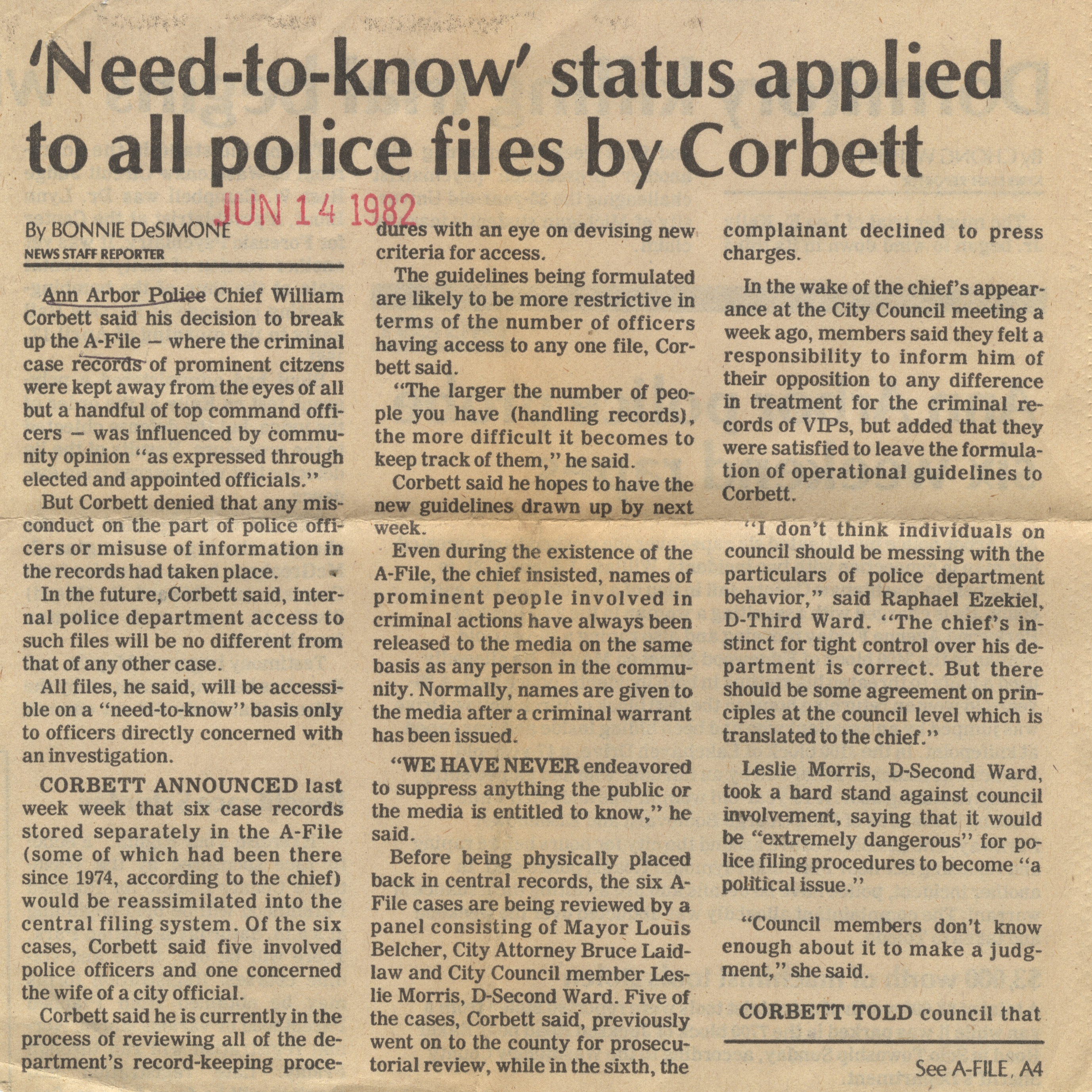 'Need-To-Know' Status Applied To All Police Files By Corbett image