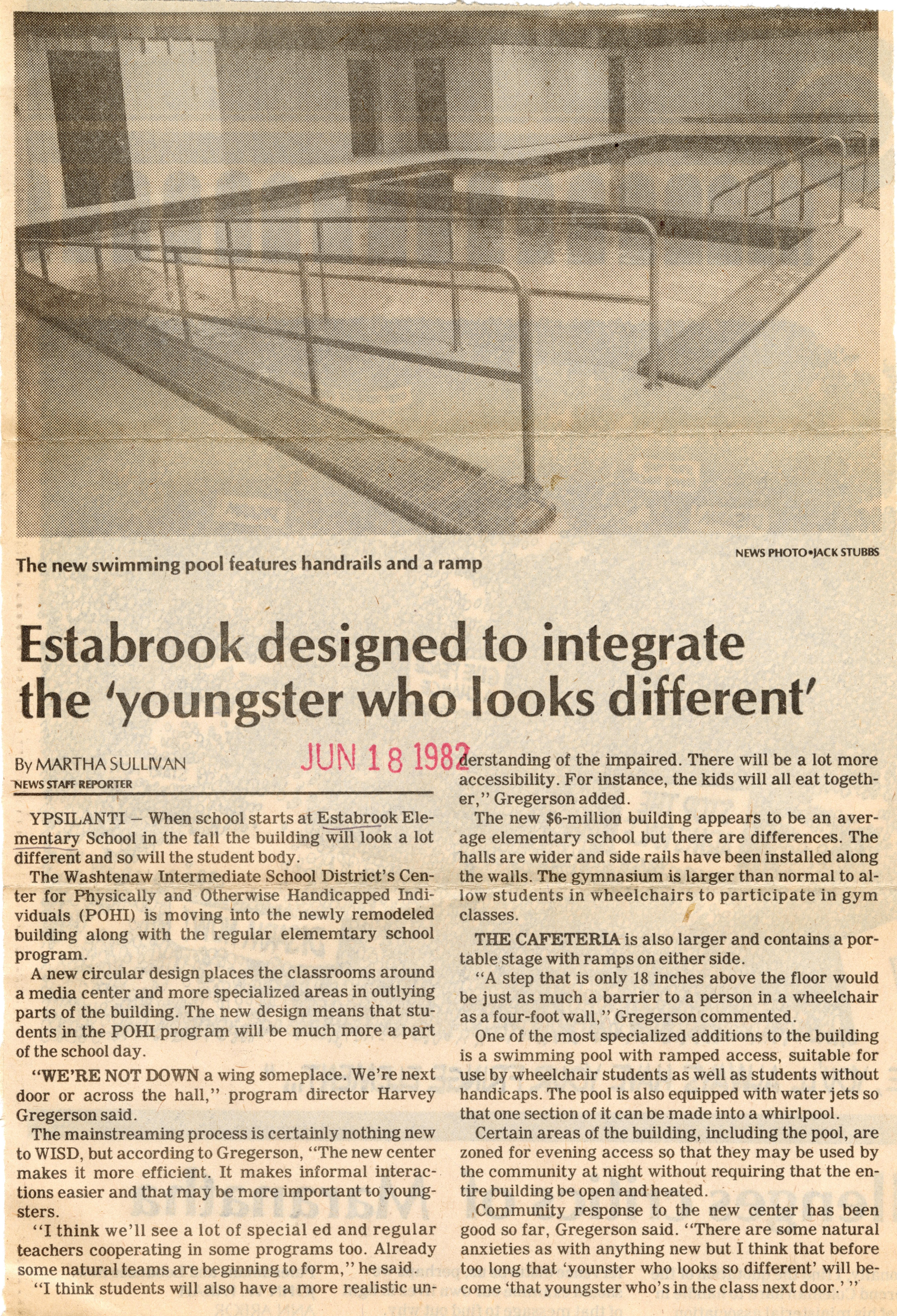 Estabrook designed to integrate the 'youngster who looks different' image