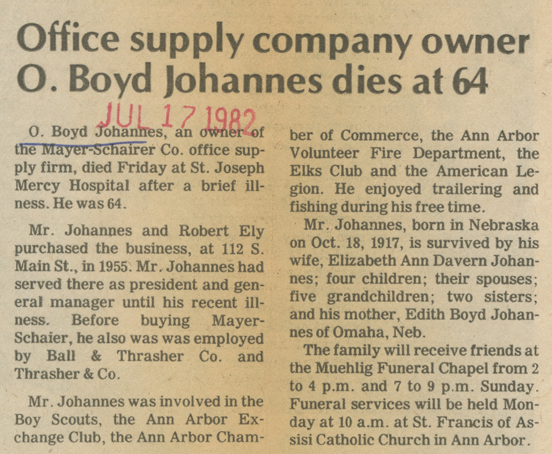 Office Supply Company Owner O. Boyd Johannes Dies At 64 image