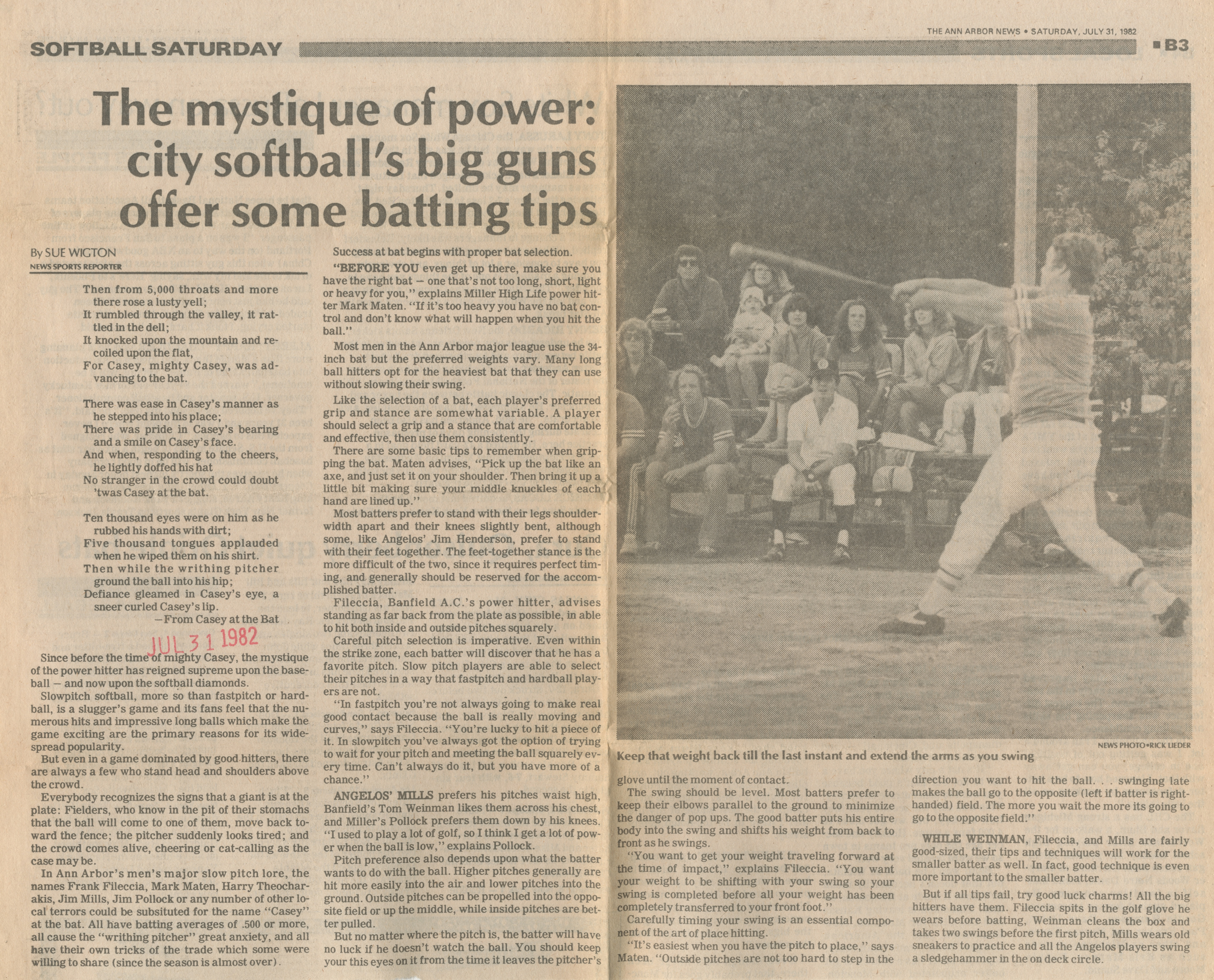 The Mystique Of Power: City Softball's Big Guns Offer Some Batting Tips image