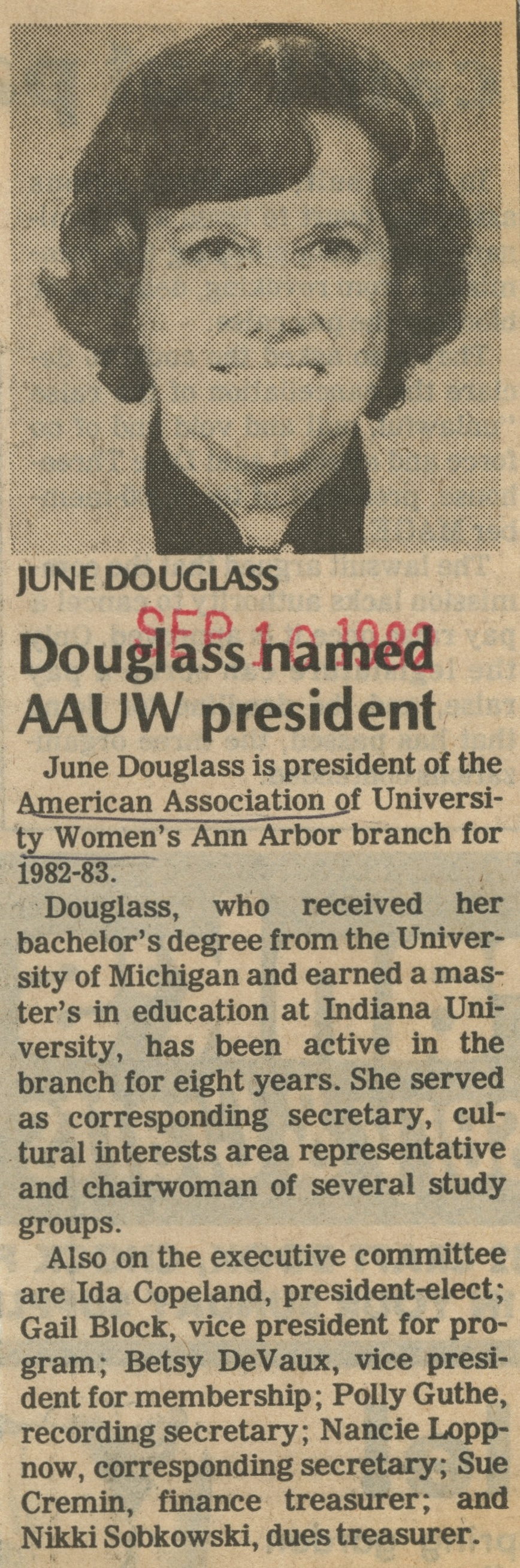Douglass Named AAUW President image