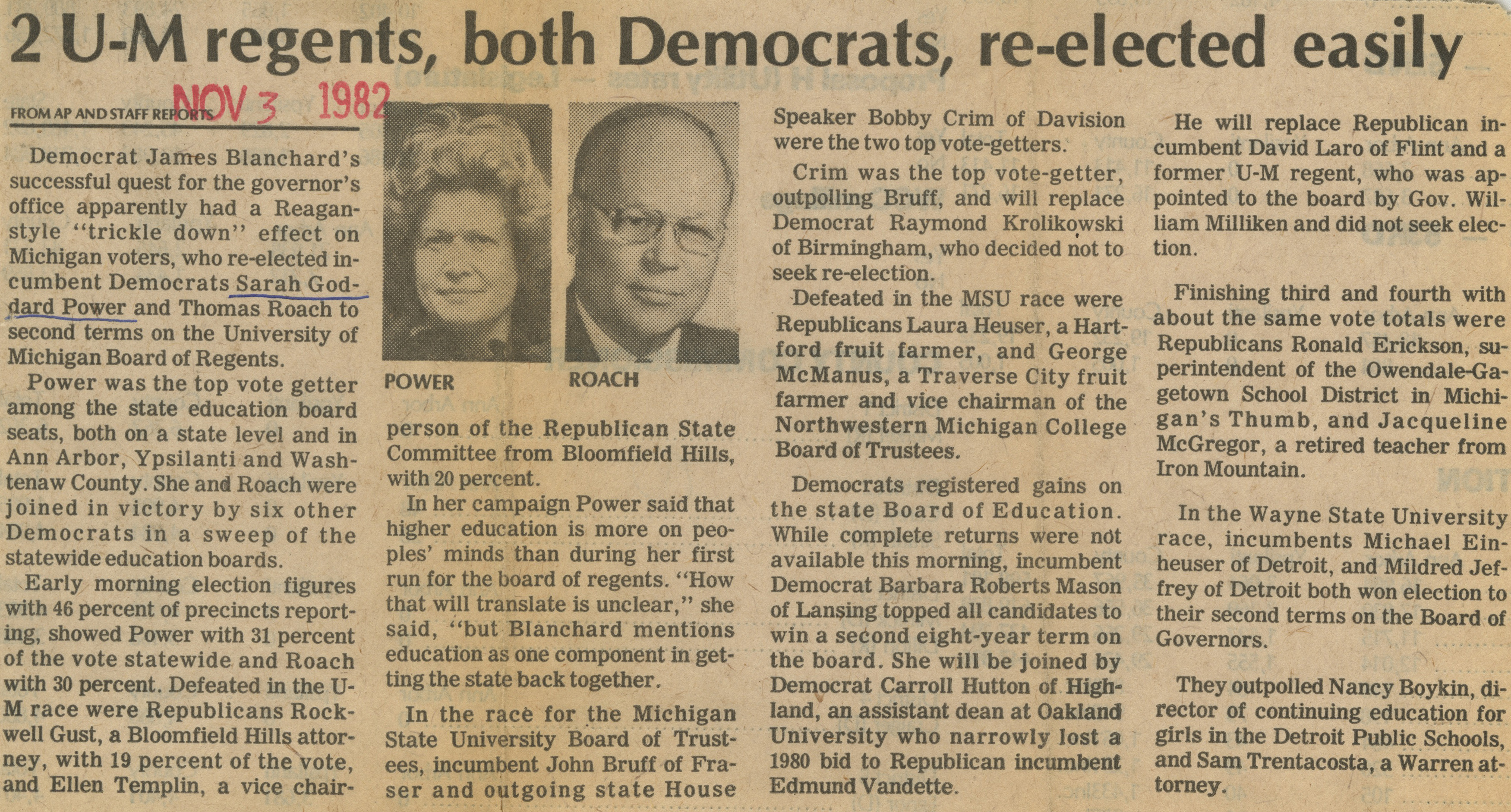 2 U-M Regents, Both Democrats, Re-Elected Easily image
