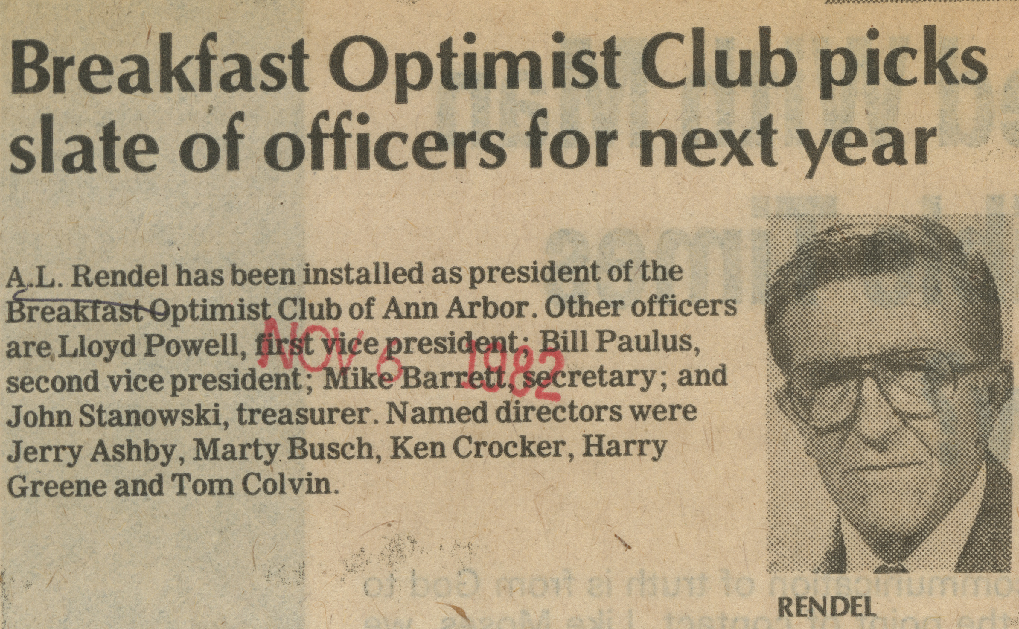 Breakfast Optimist Club picks slate of officers for next year image