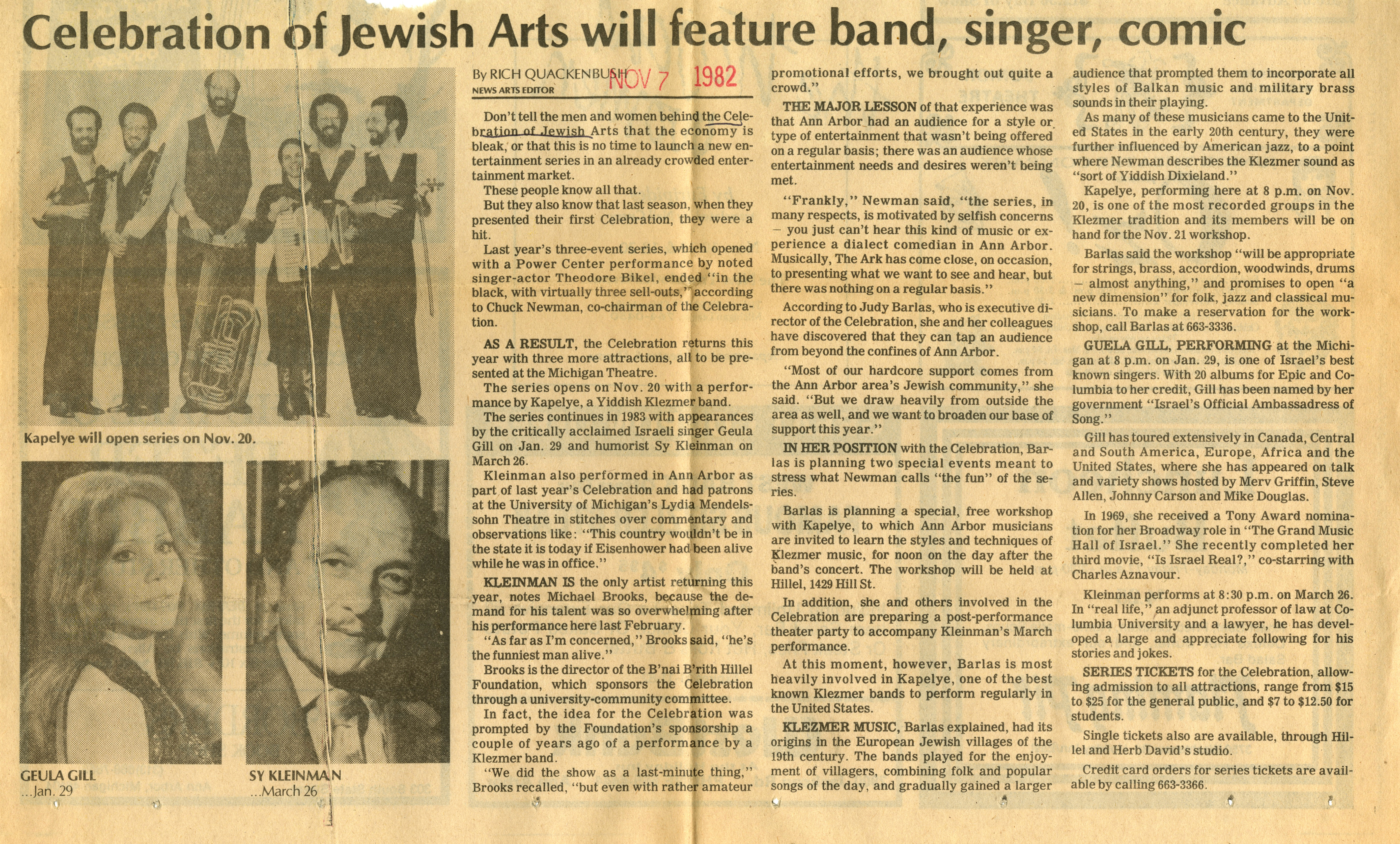 Celebration Of Jewish Arts Will Feature Band, Singer, Comic image