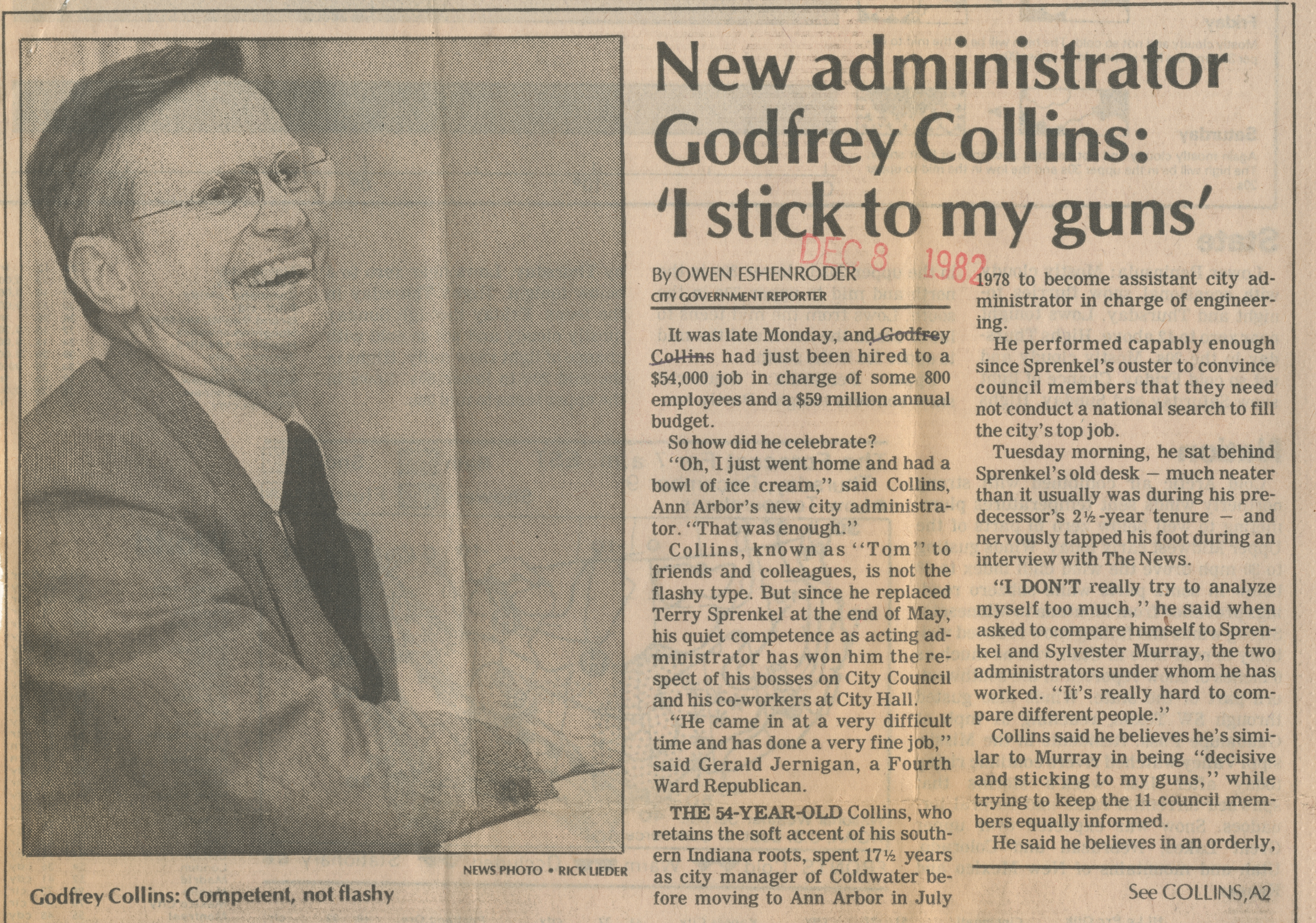New administrator Godfrey Collins: 'I stick to my guns' image