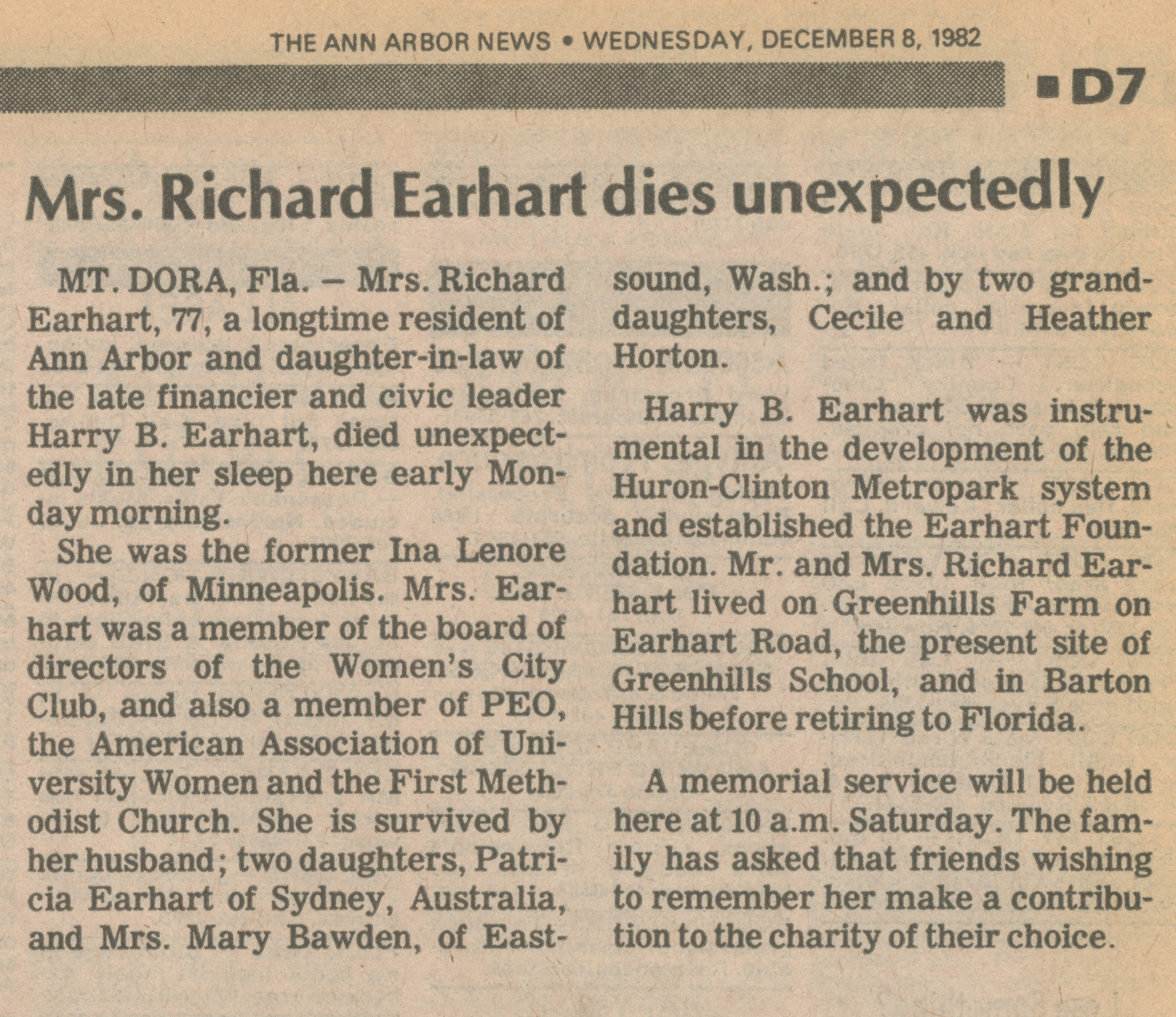 Mrs. Richard Earhart dies unexpectedly image