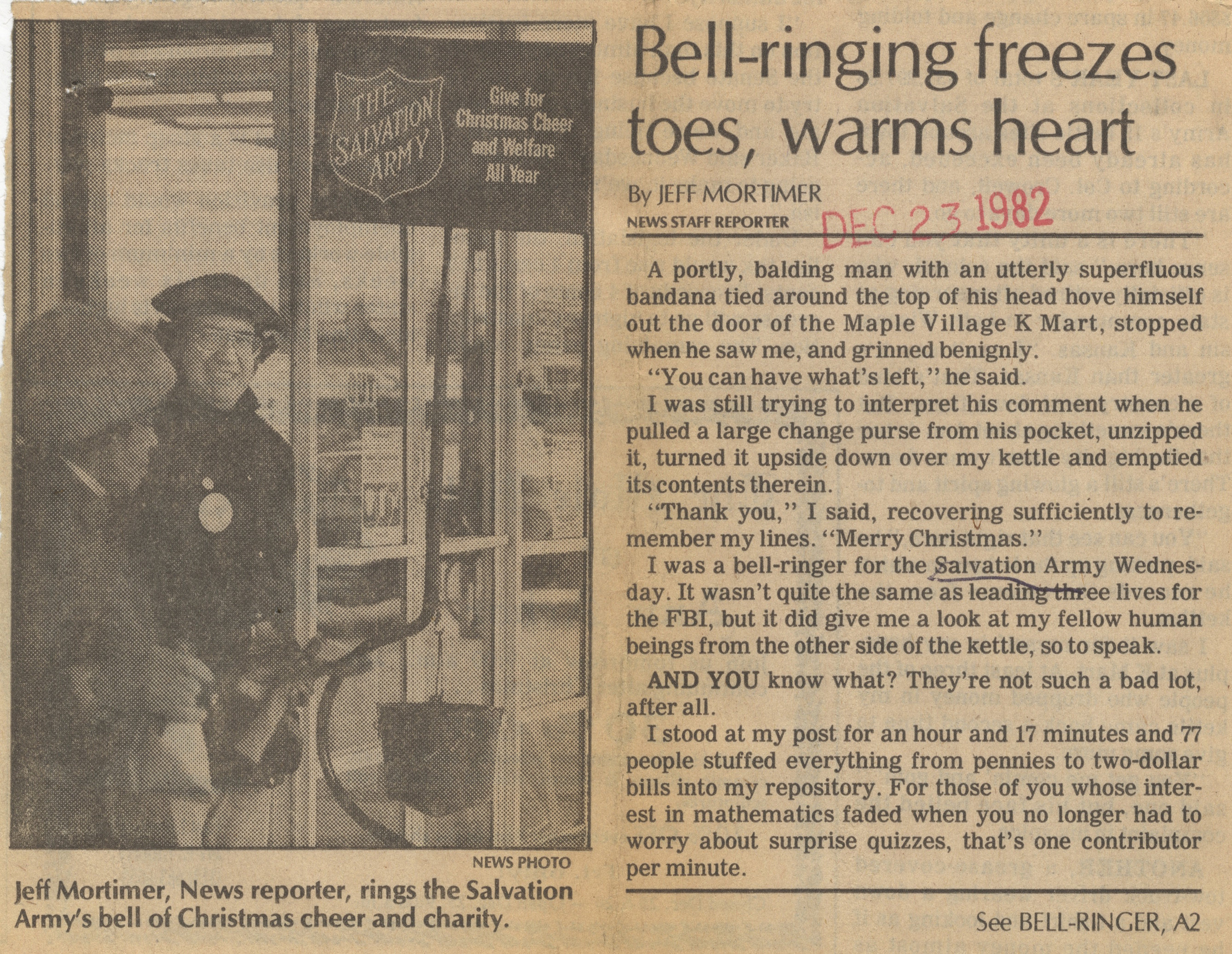 Bell-Ringing Freezes Toes, Warms Heart image
