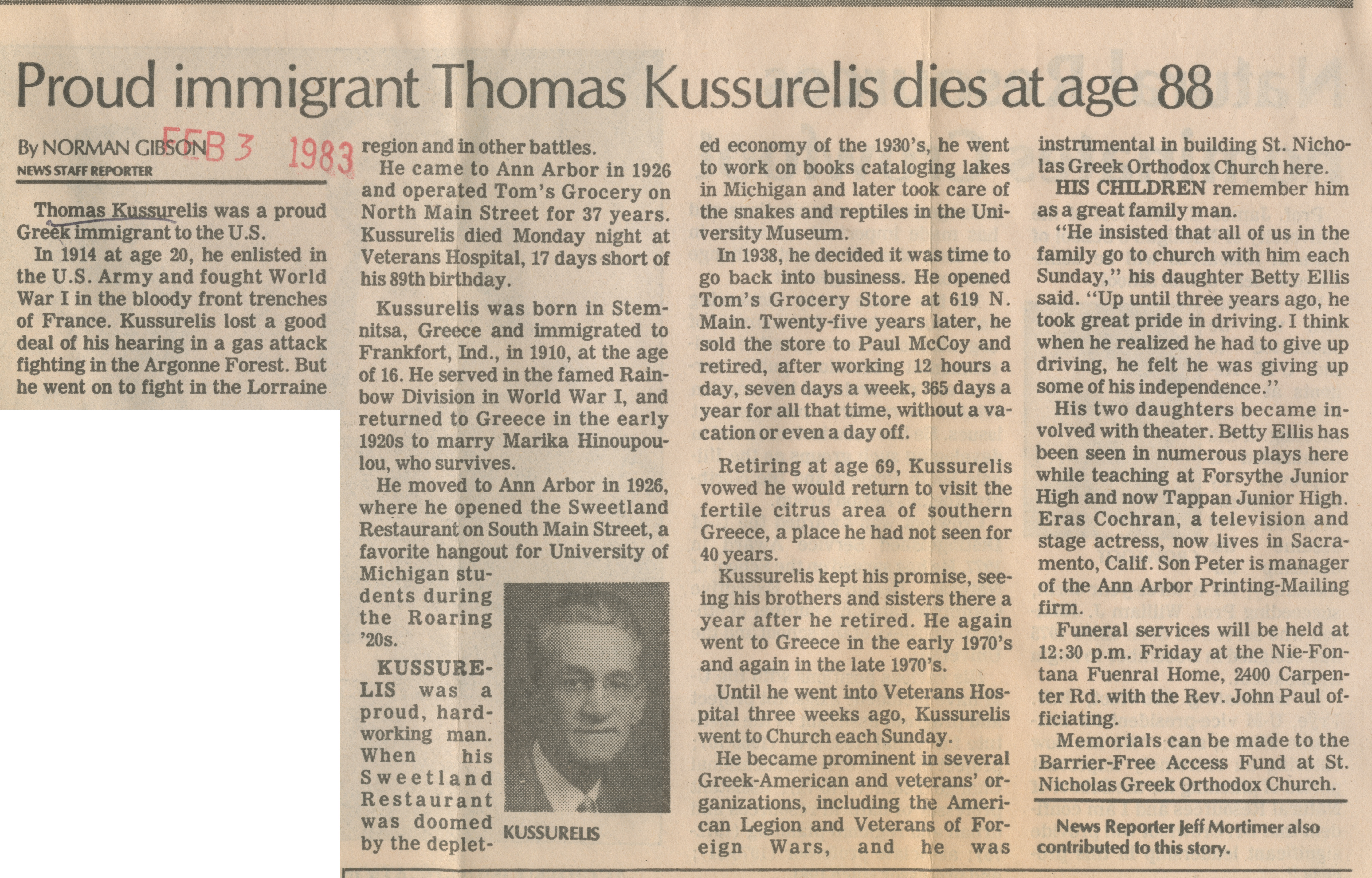 Proud immigrant Thomas Kussurelis dies at age 88 image