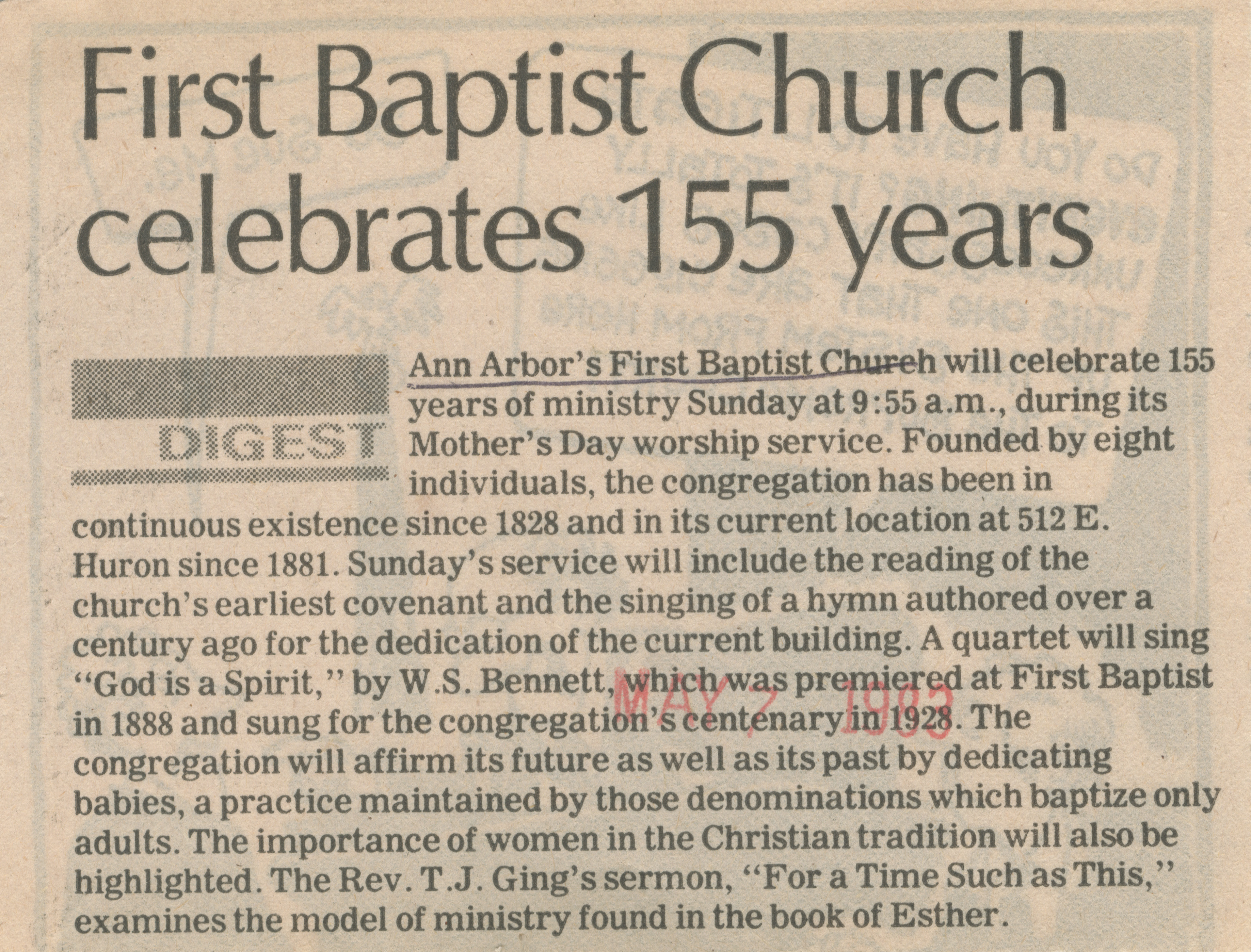 First Baptist Church celebrates 155 years image