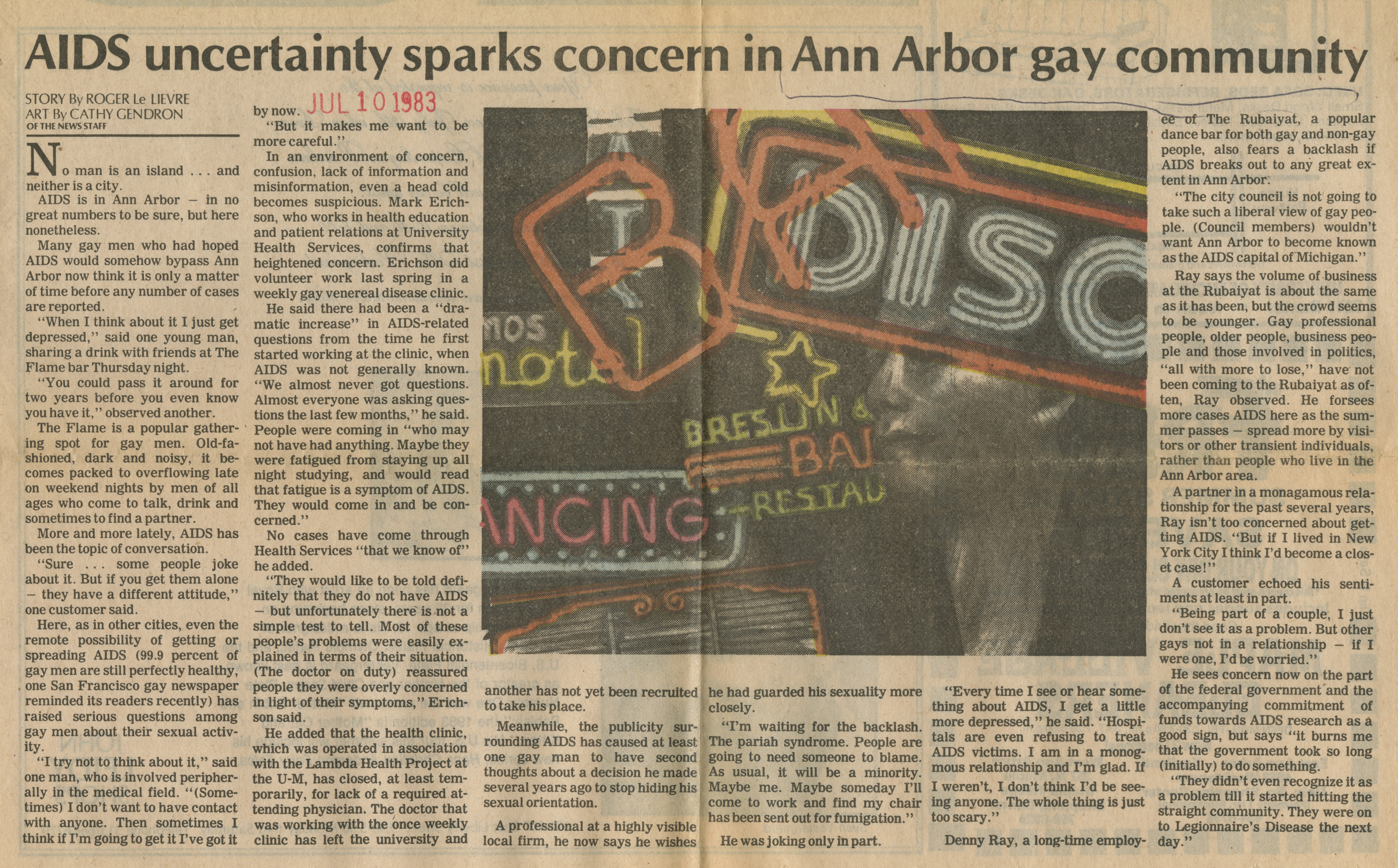AIDS Uncertainty Sparks Concern In Ann Arbor Gay Community image