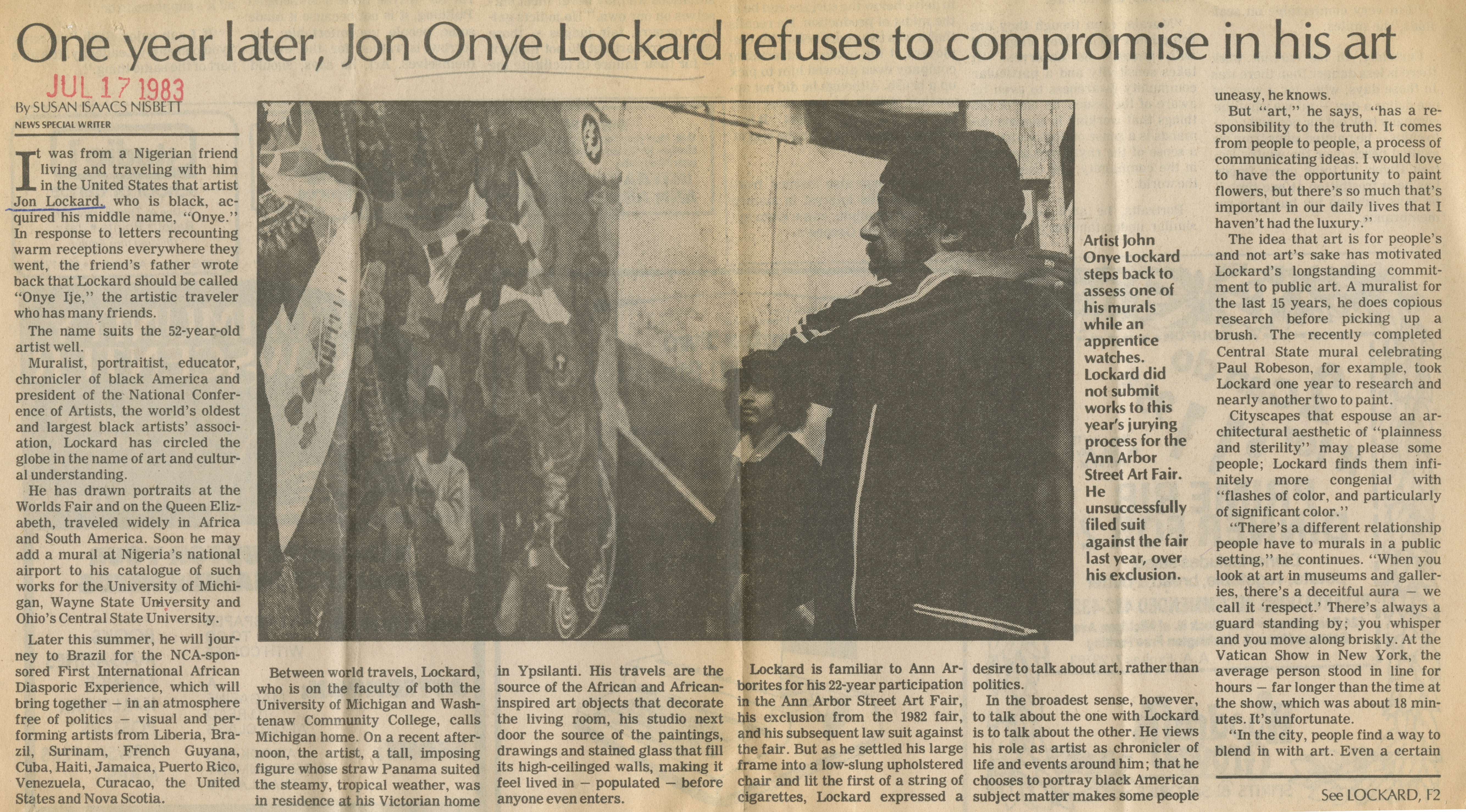 One year later, Jon Onye Lockard refuses to compromise in his art image