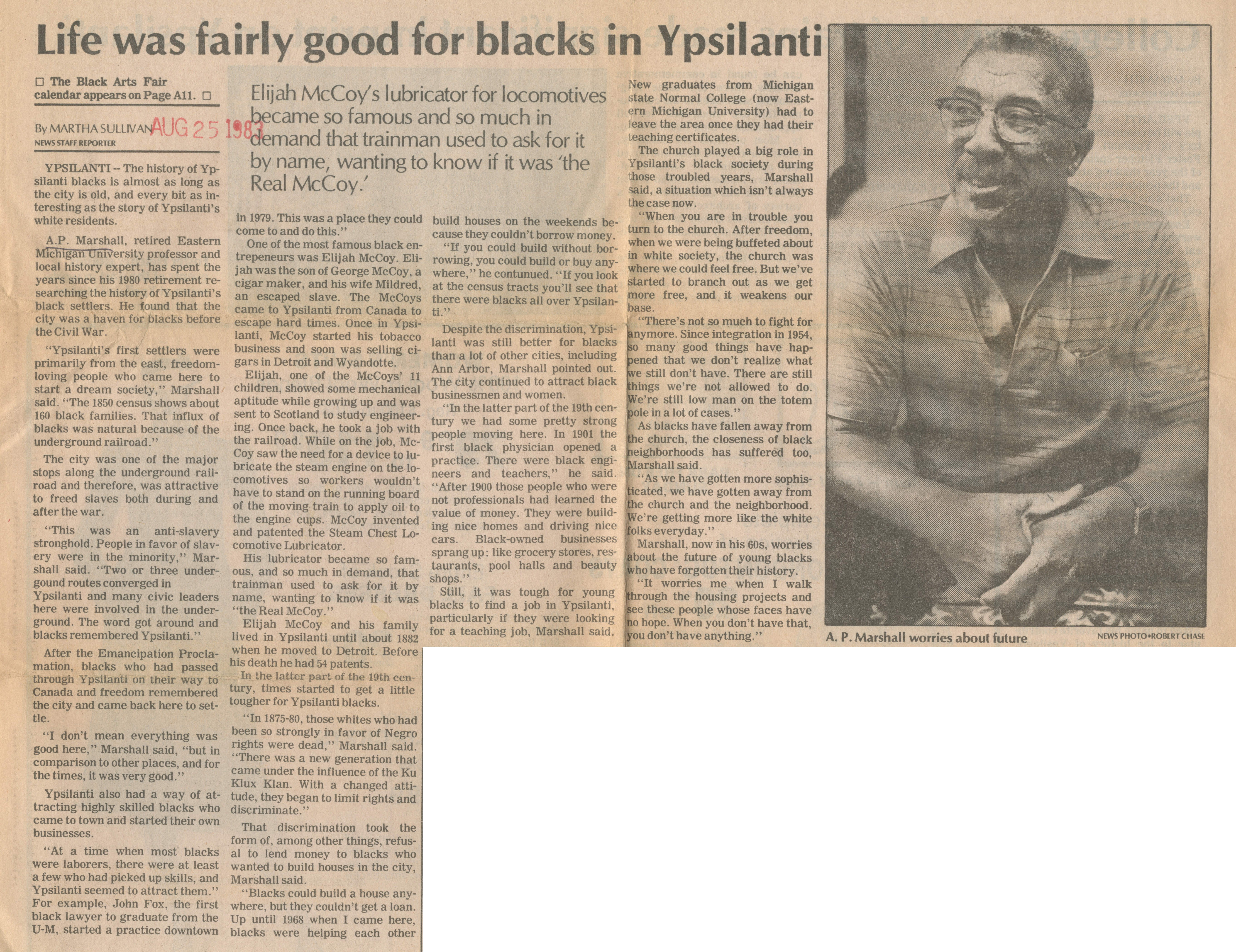 Life Was Fairly Good for Blacks in Ypsilanti image