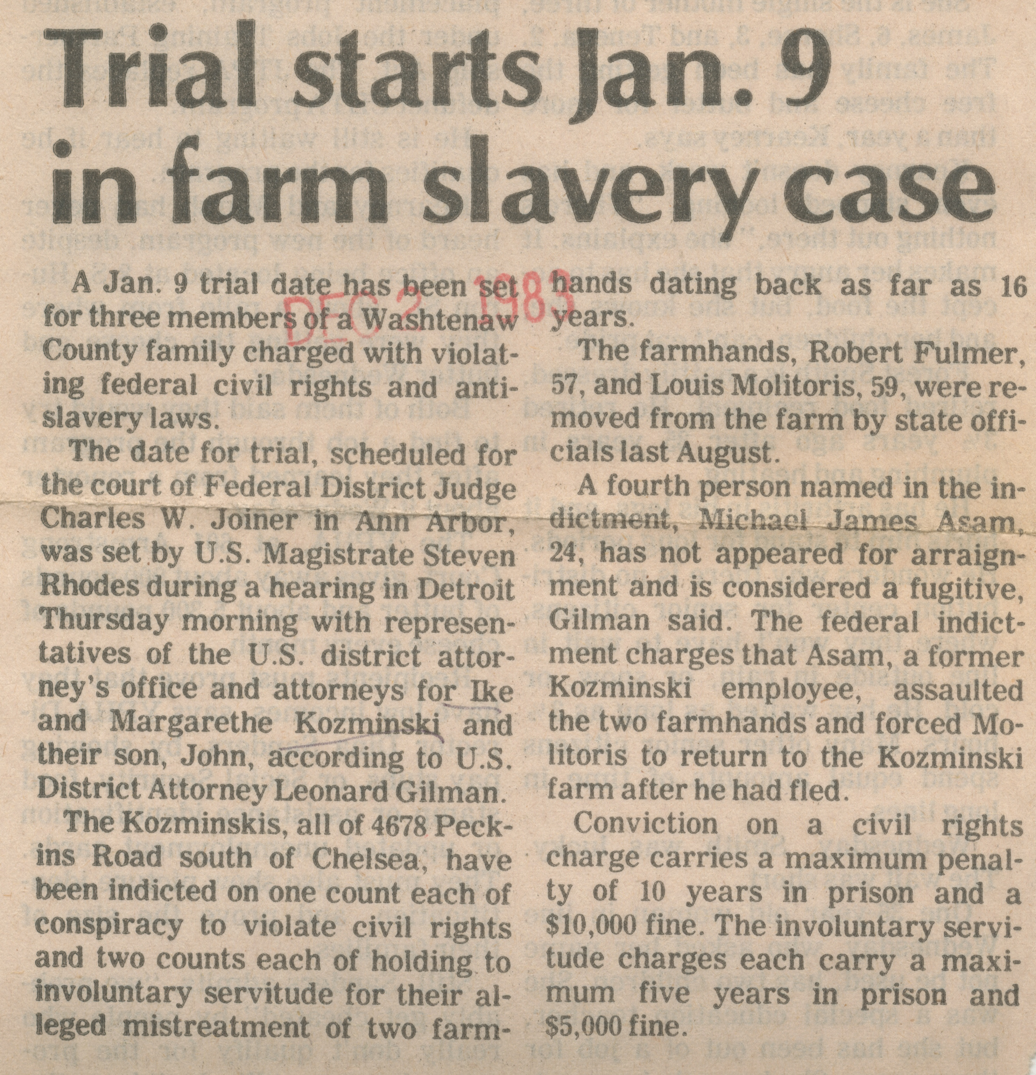 Trial starts Jan. 9 in farm slavery case image