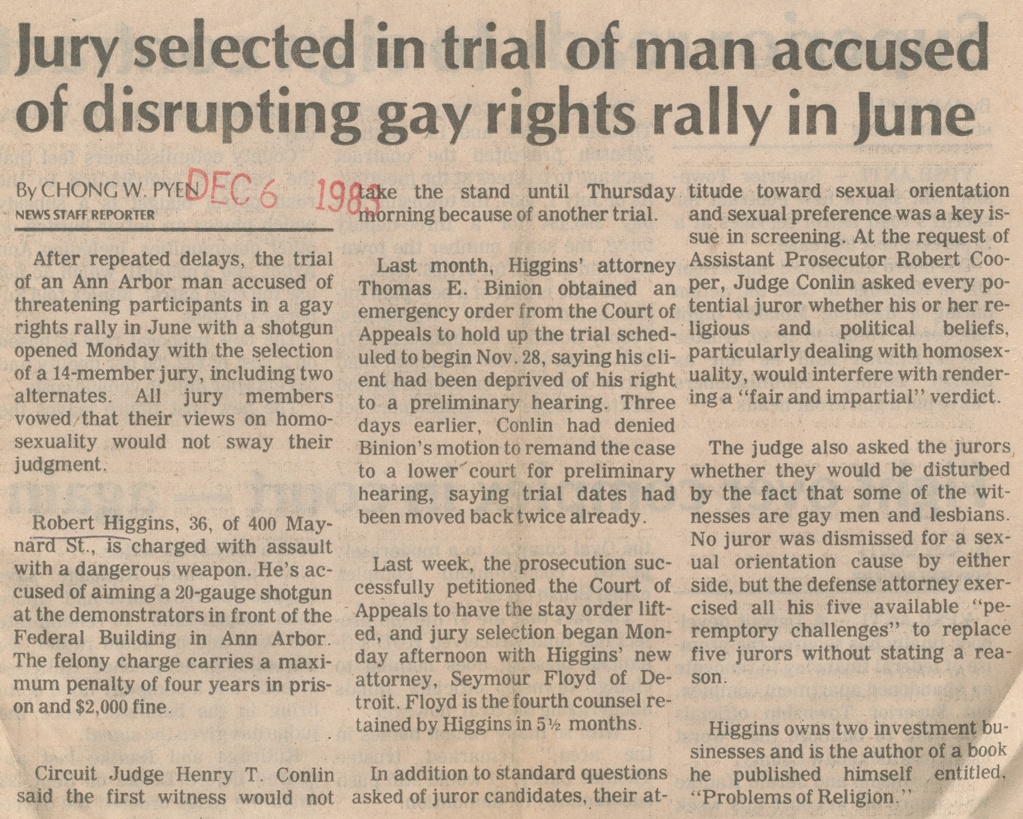 Jury selected in trial of man accused of disrupting gay rights rally in June image