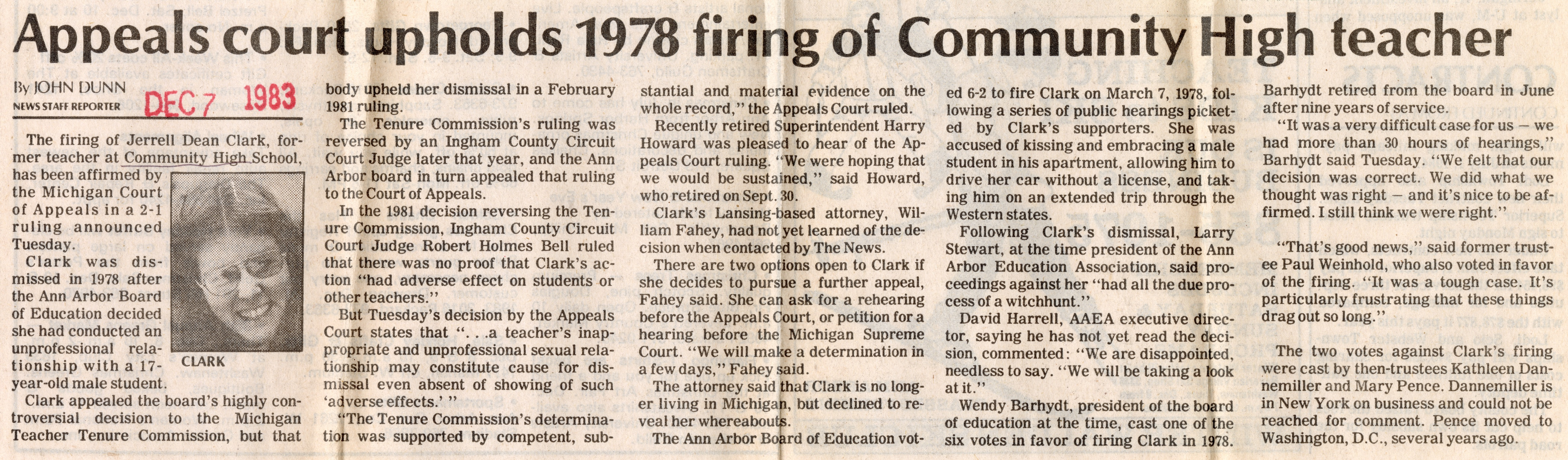 Appeals Court Upholds 1978 Firing of Community High Teacher image
