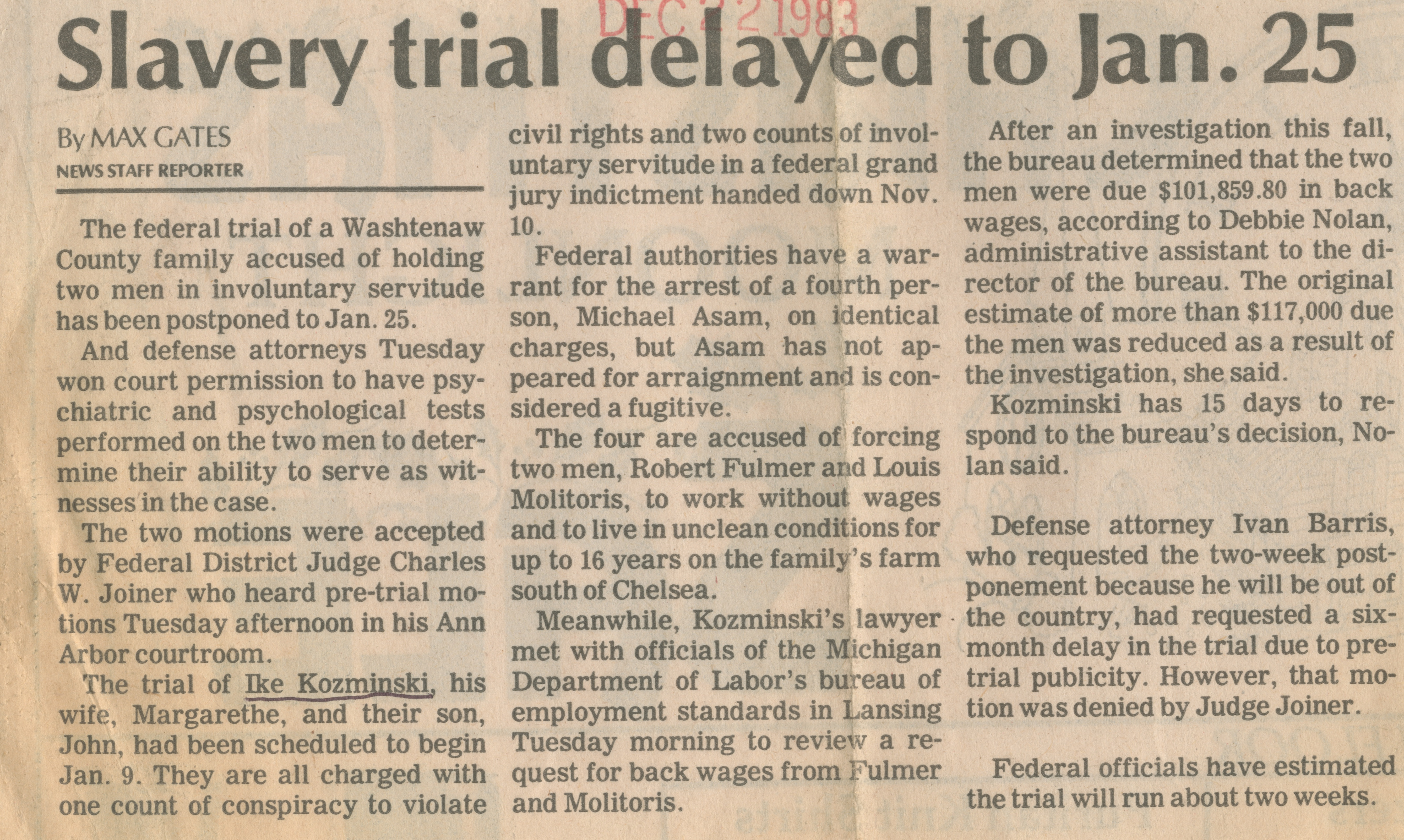 Slavery trial delayed to Jan. 25 image