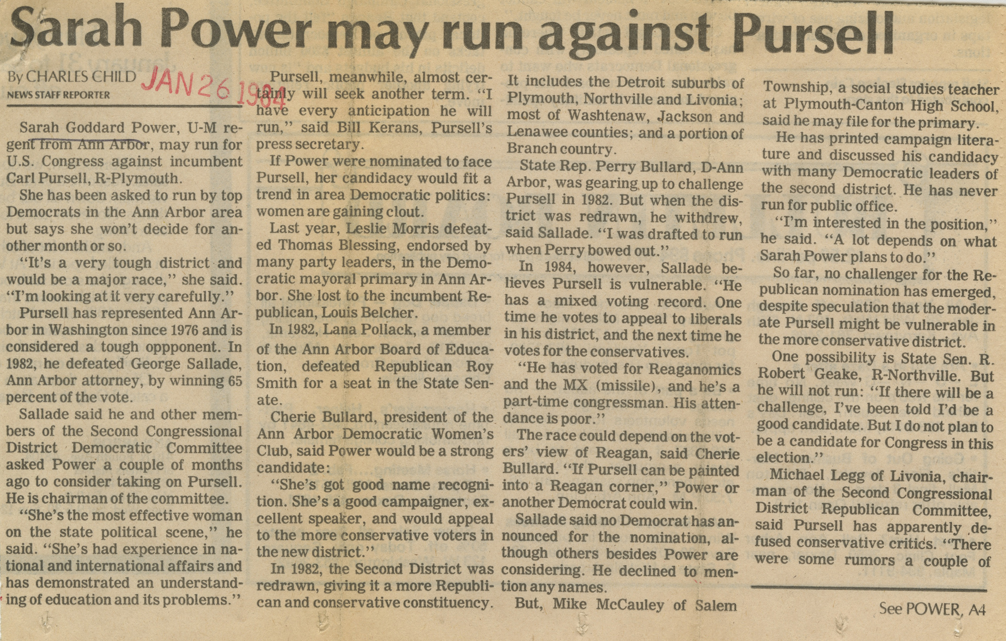 Sarah Power May Run Against Pursell image