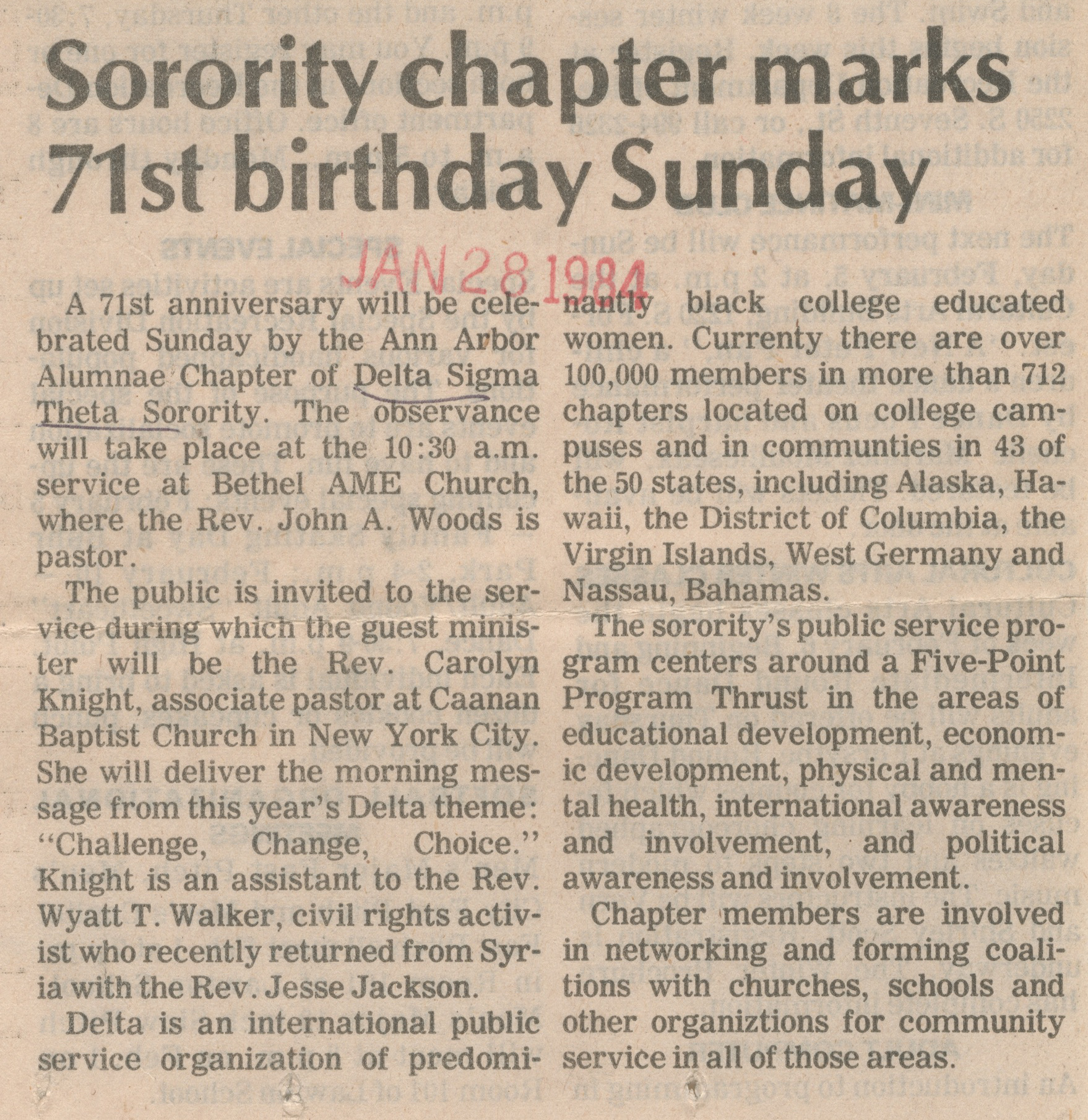 Sorority Chapter Marks 71st Birthday Sunday image