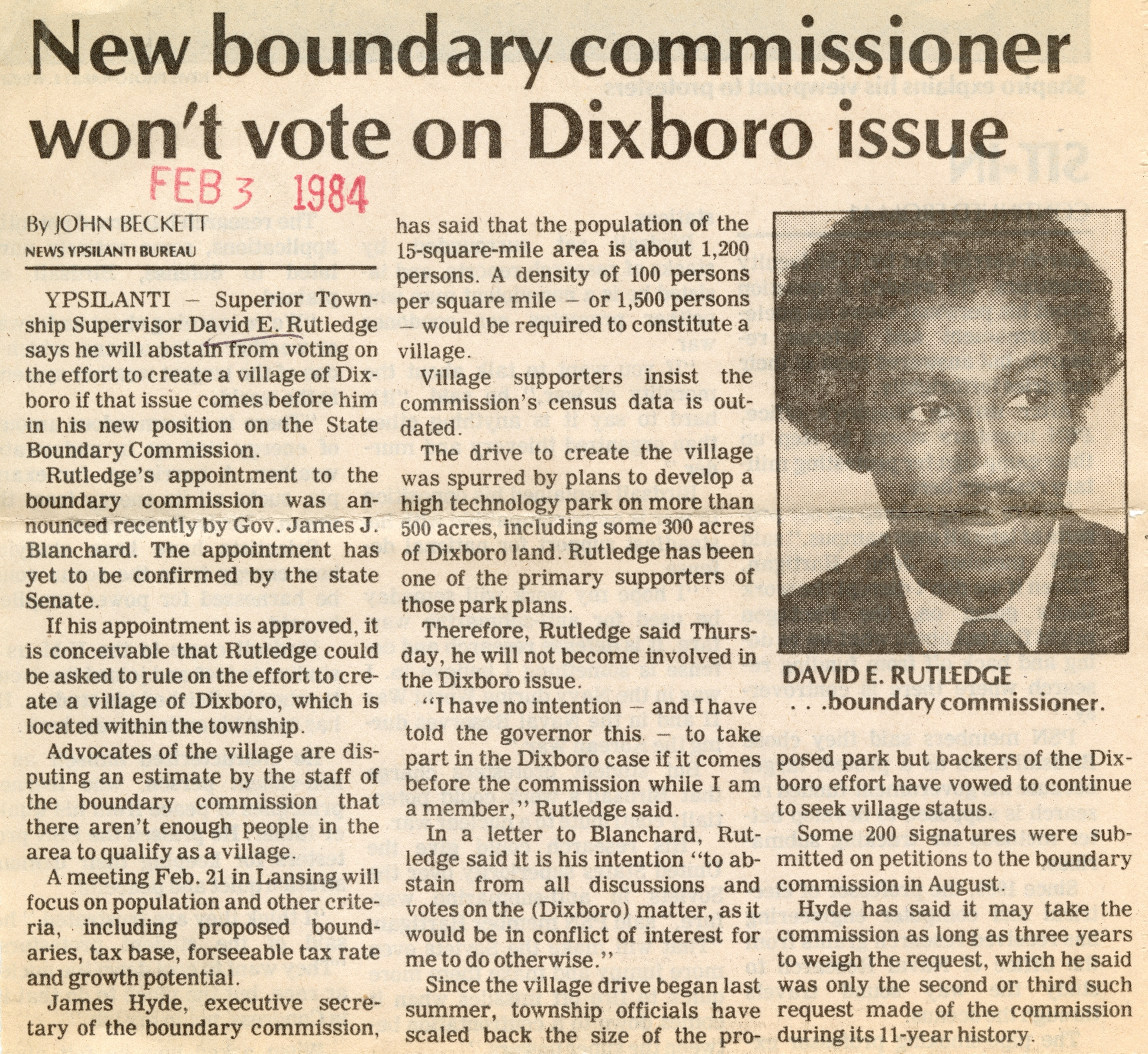 New Boundary Commissioner Won't Vote On Dixboro Issue image