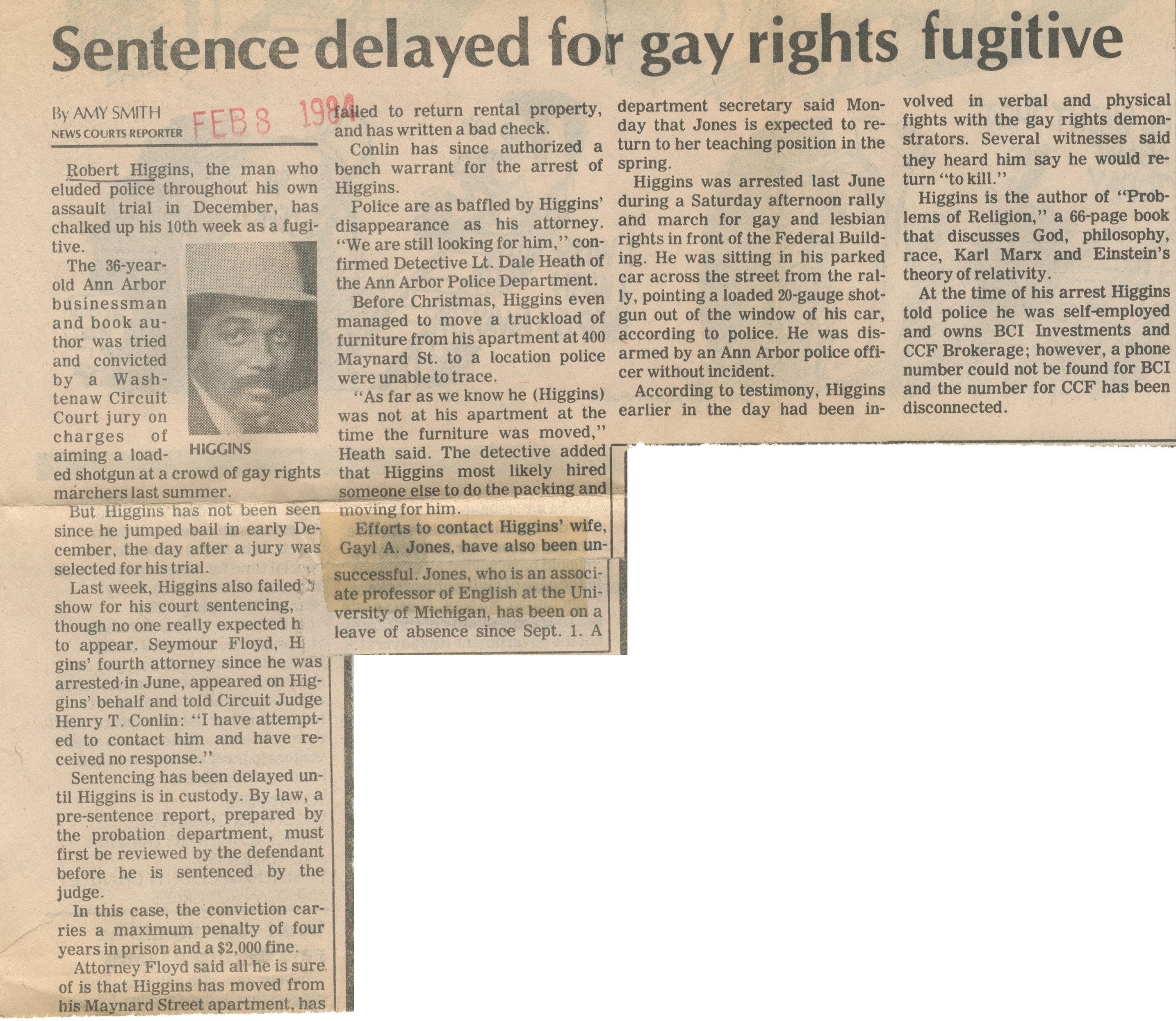 Sentence delayed for gay rights fugitive image