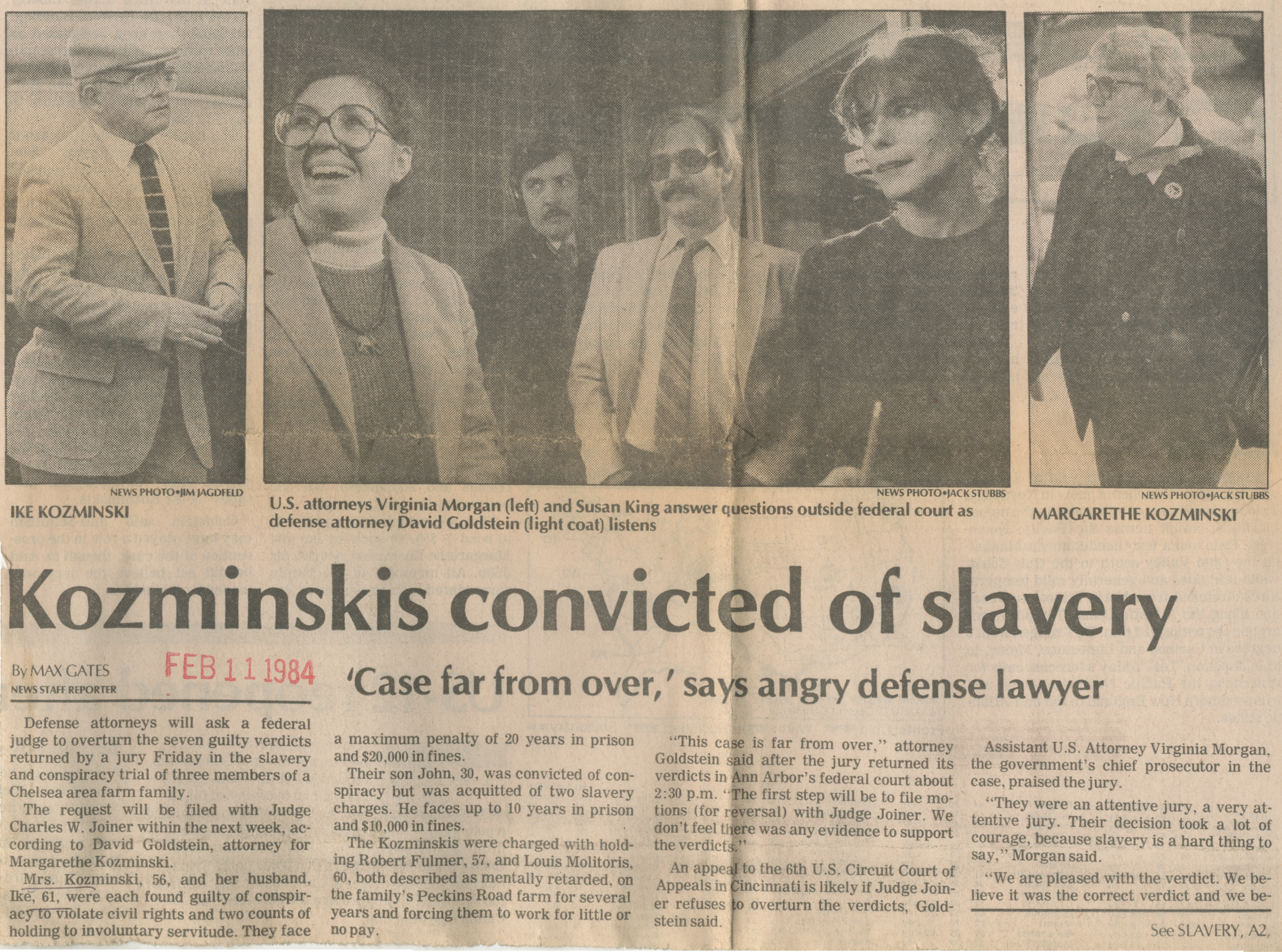 Kozminskis convicted of slavery image