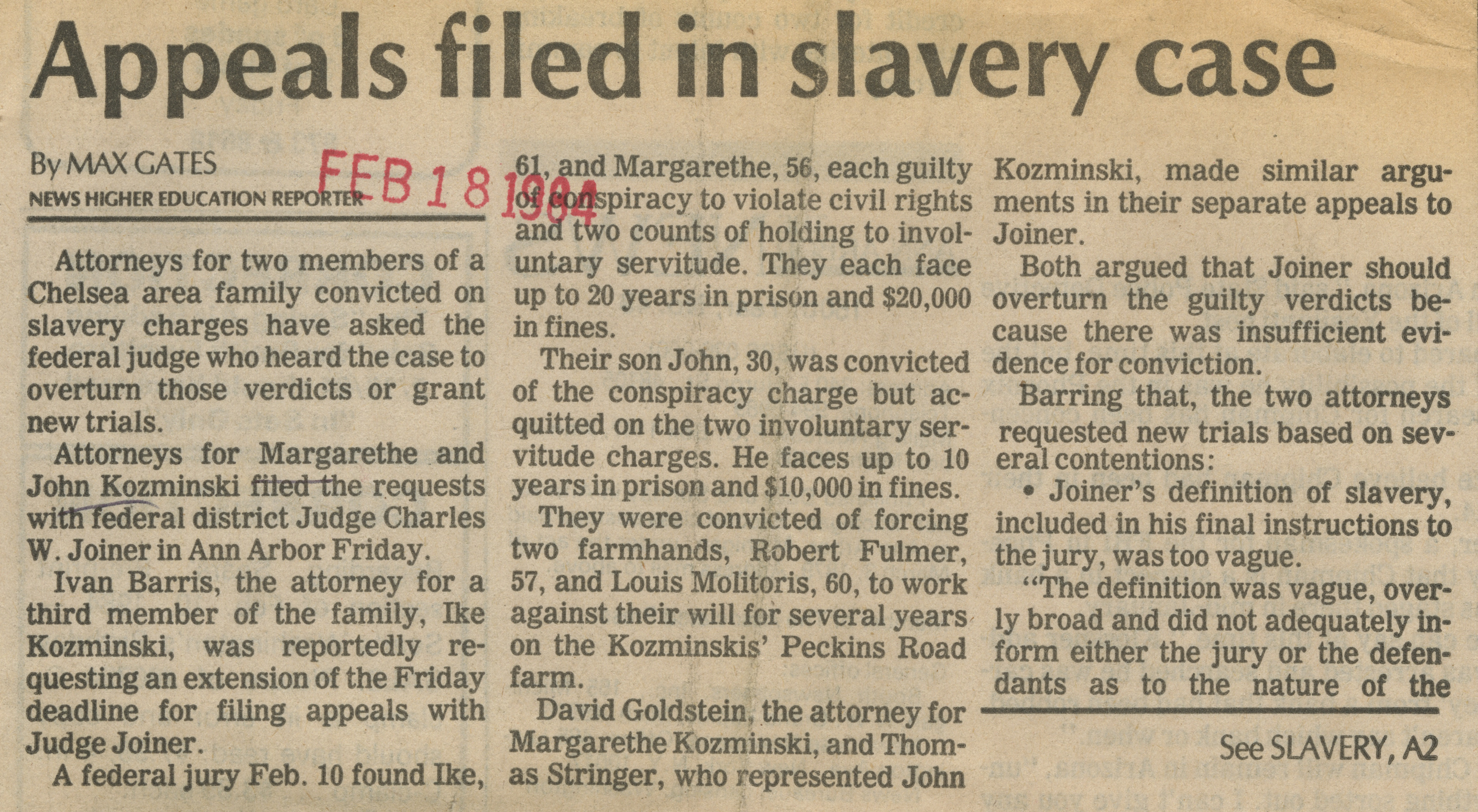 Appeals filed in slavery case image