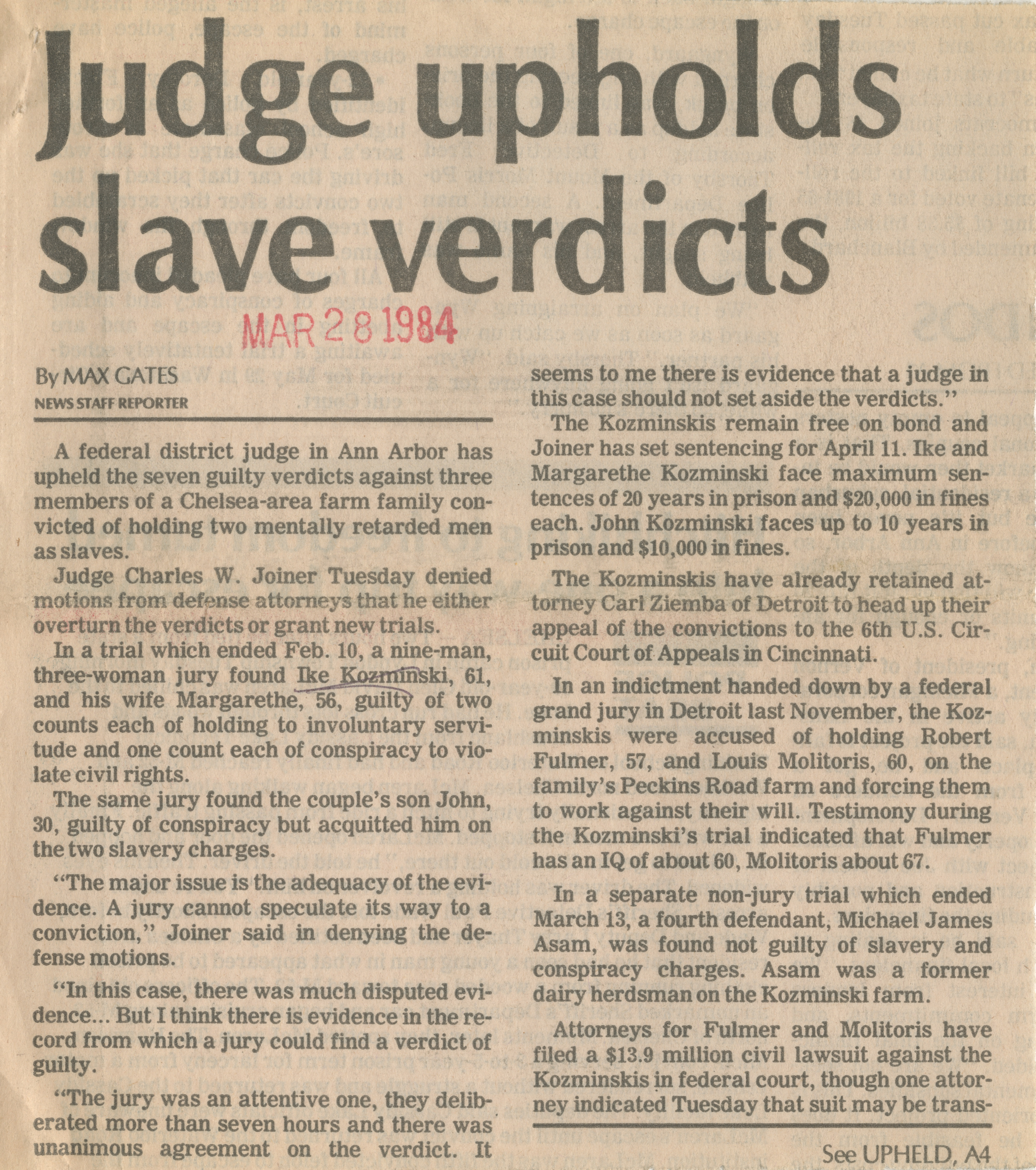 Judge upholds slave verdicts image